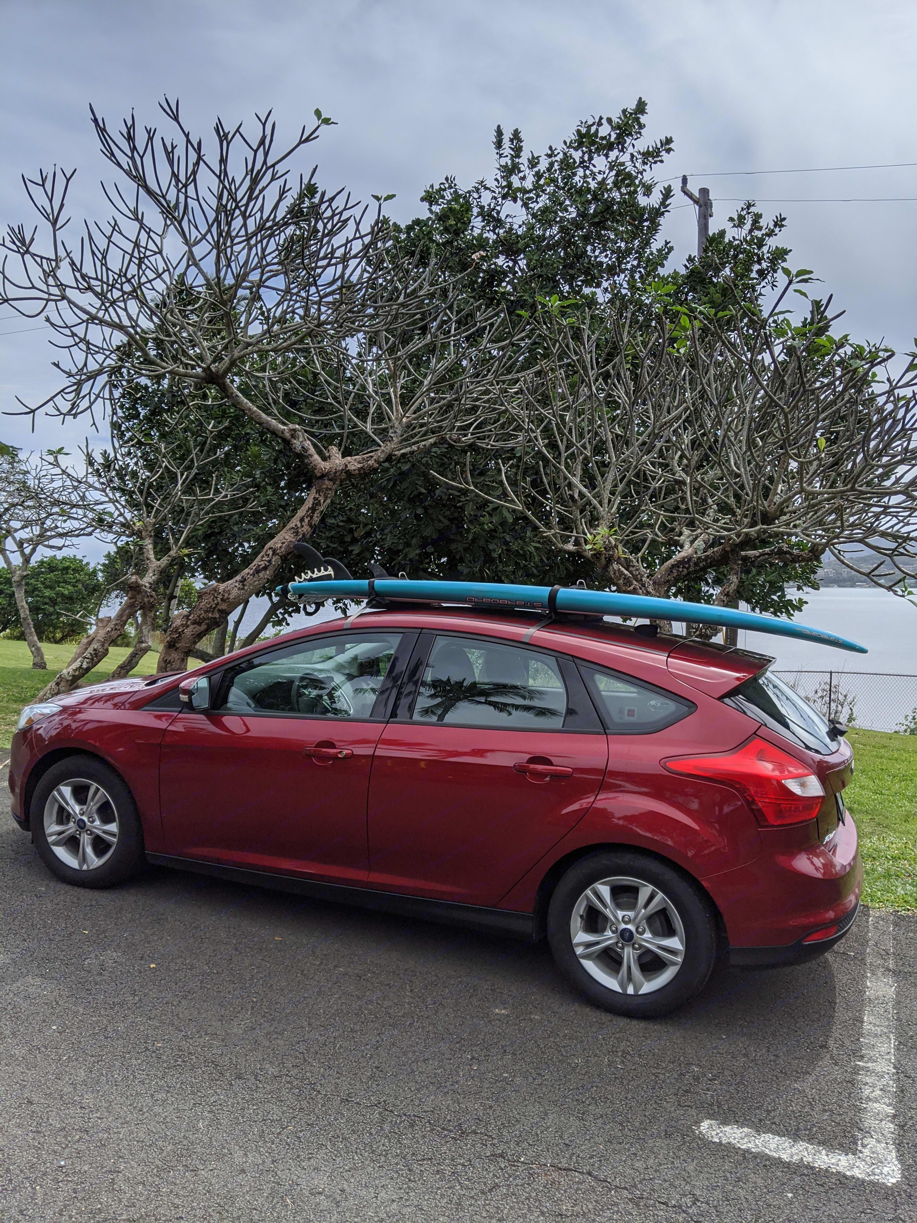 Optional surfboard rack add-on. Ford Focus 2013