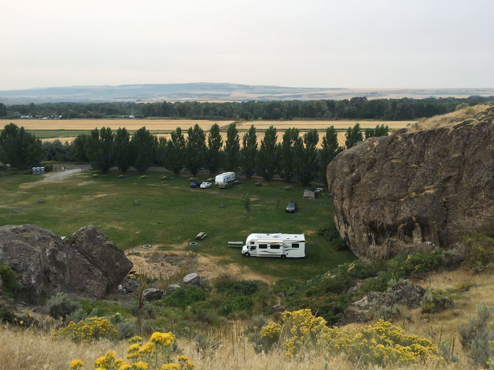 Aerial of the Heise Rock Dry Campground . Thor Motor Coach Tahoe 2012