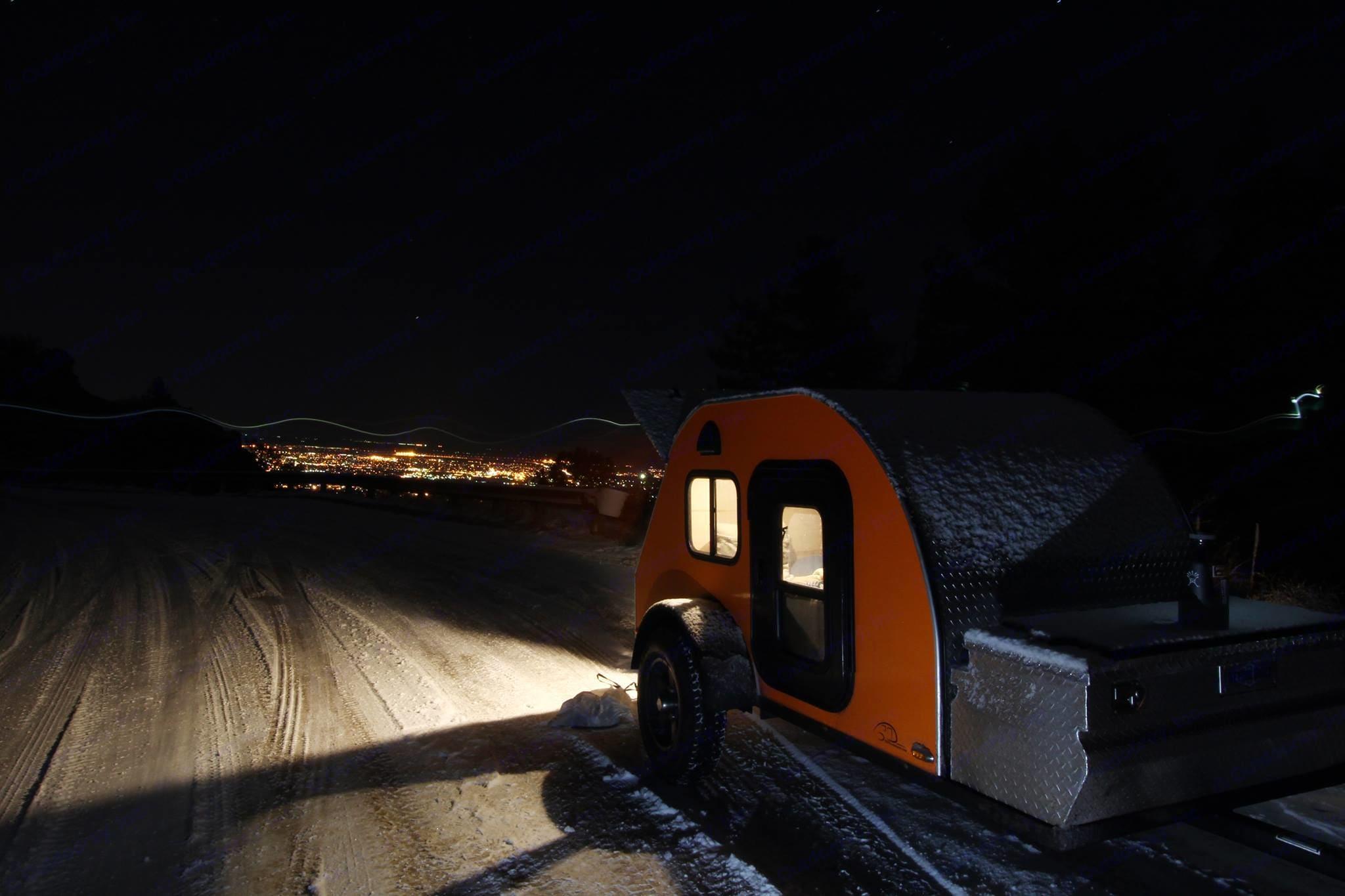 Clem high above Colorado Springs on a winter trip.. TC Teardrops 5x8shadow 2015