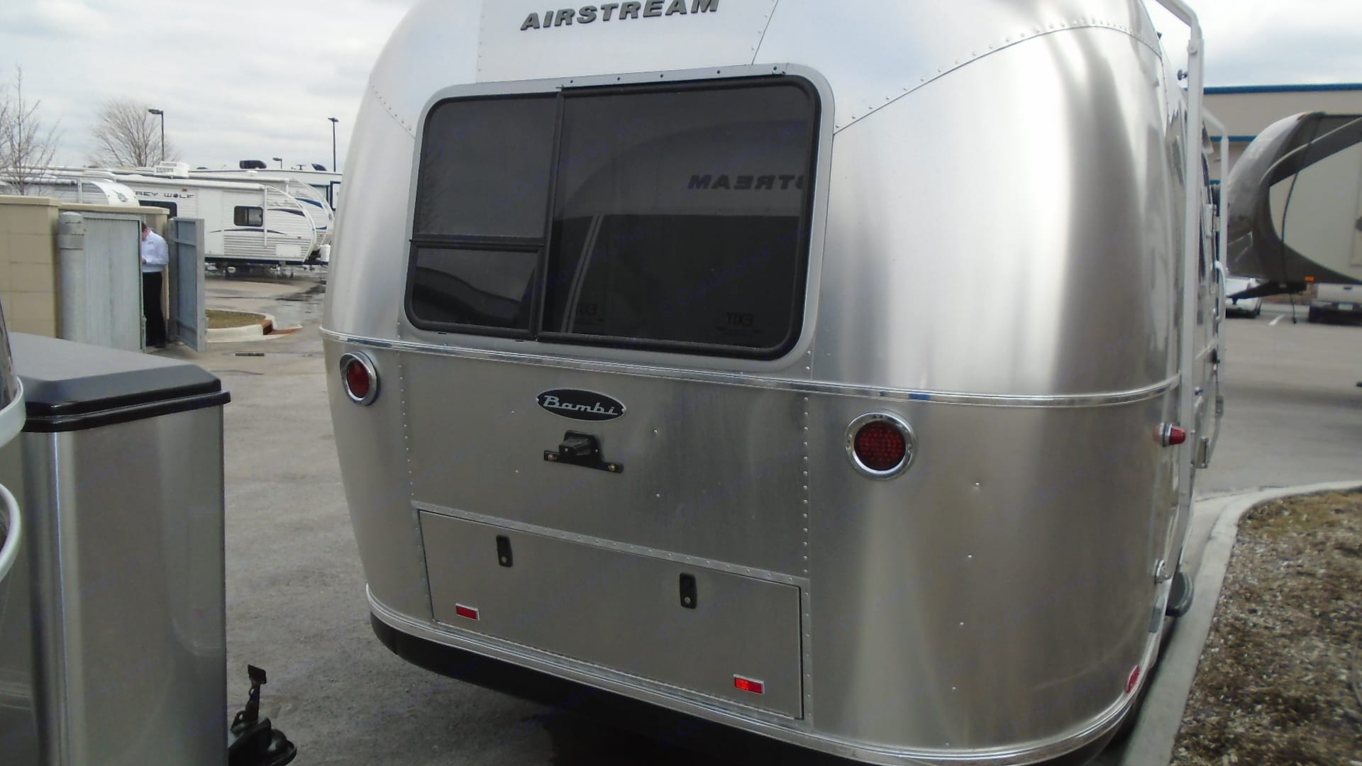 Separate double bed in the back area of the RV makes for easy, no prep, bed-time.. Airstream Sport 2019