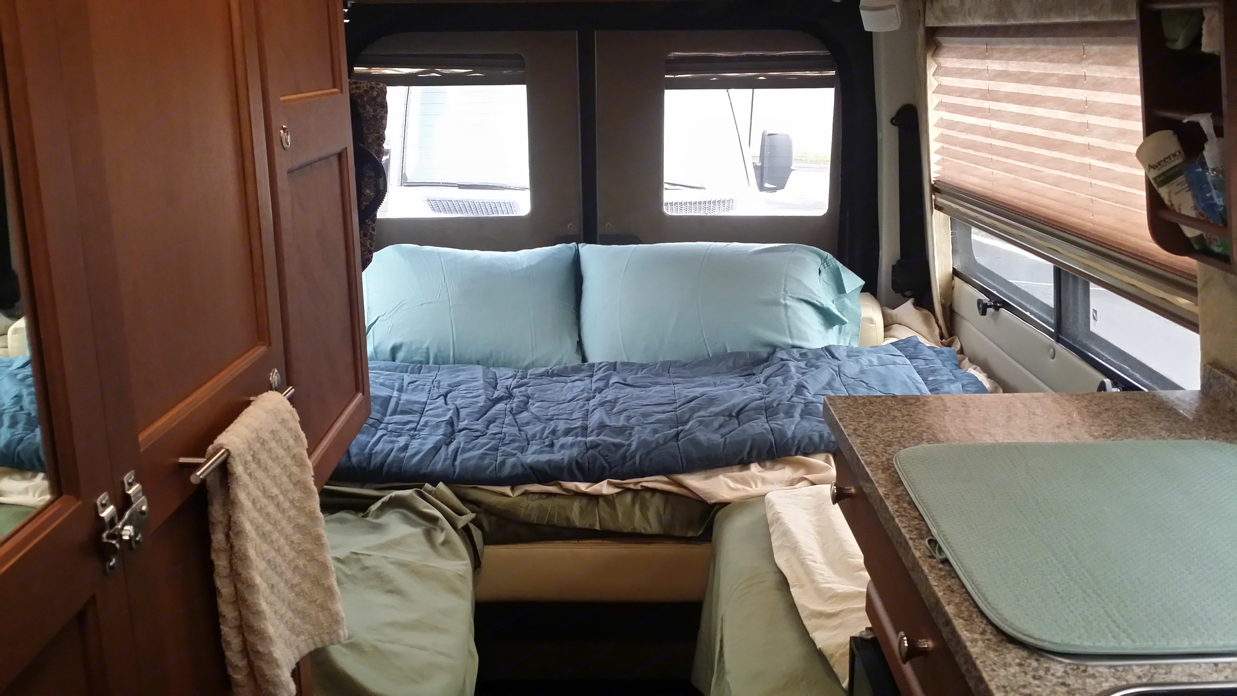 Day bed set up easily converts to a full size queen.. Roadtrek Motorhome SS Agile 2017