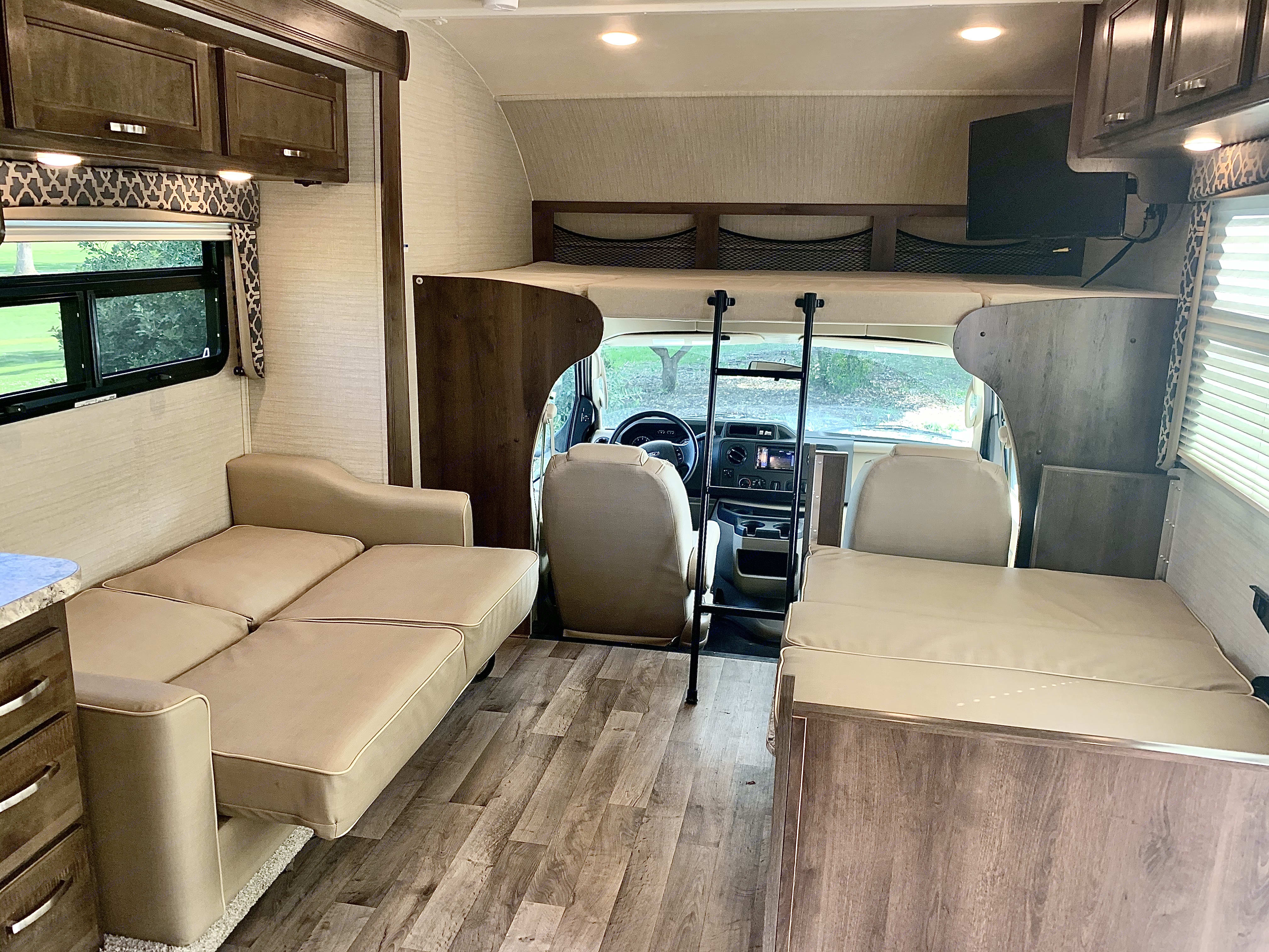 over cab sleeper, jackknife couch, and dinette sleeper, . Jayco Redhawk 2019