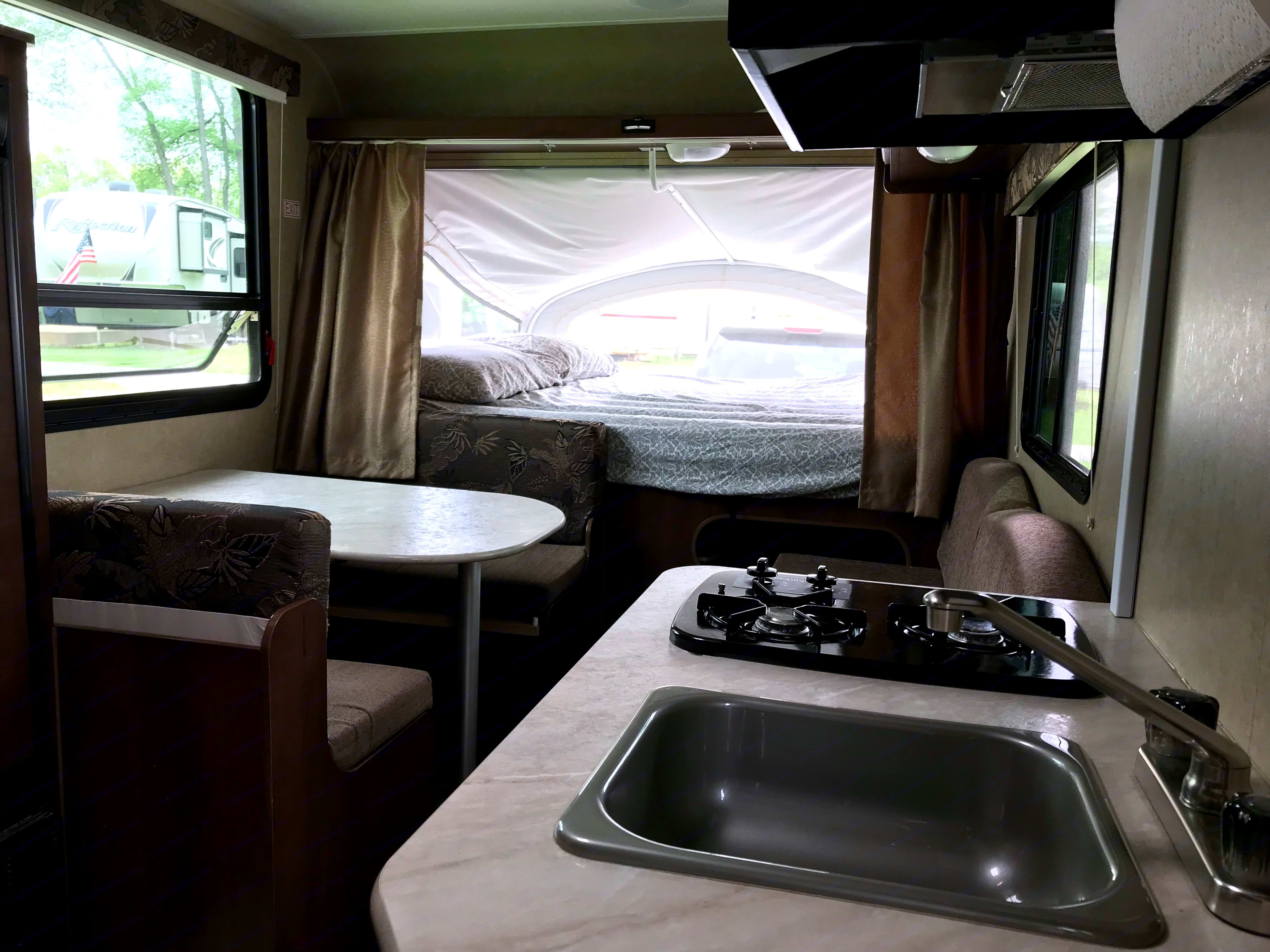 View looking to front bunk. Jayco 16xrb 2014