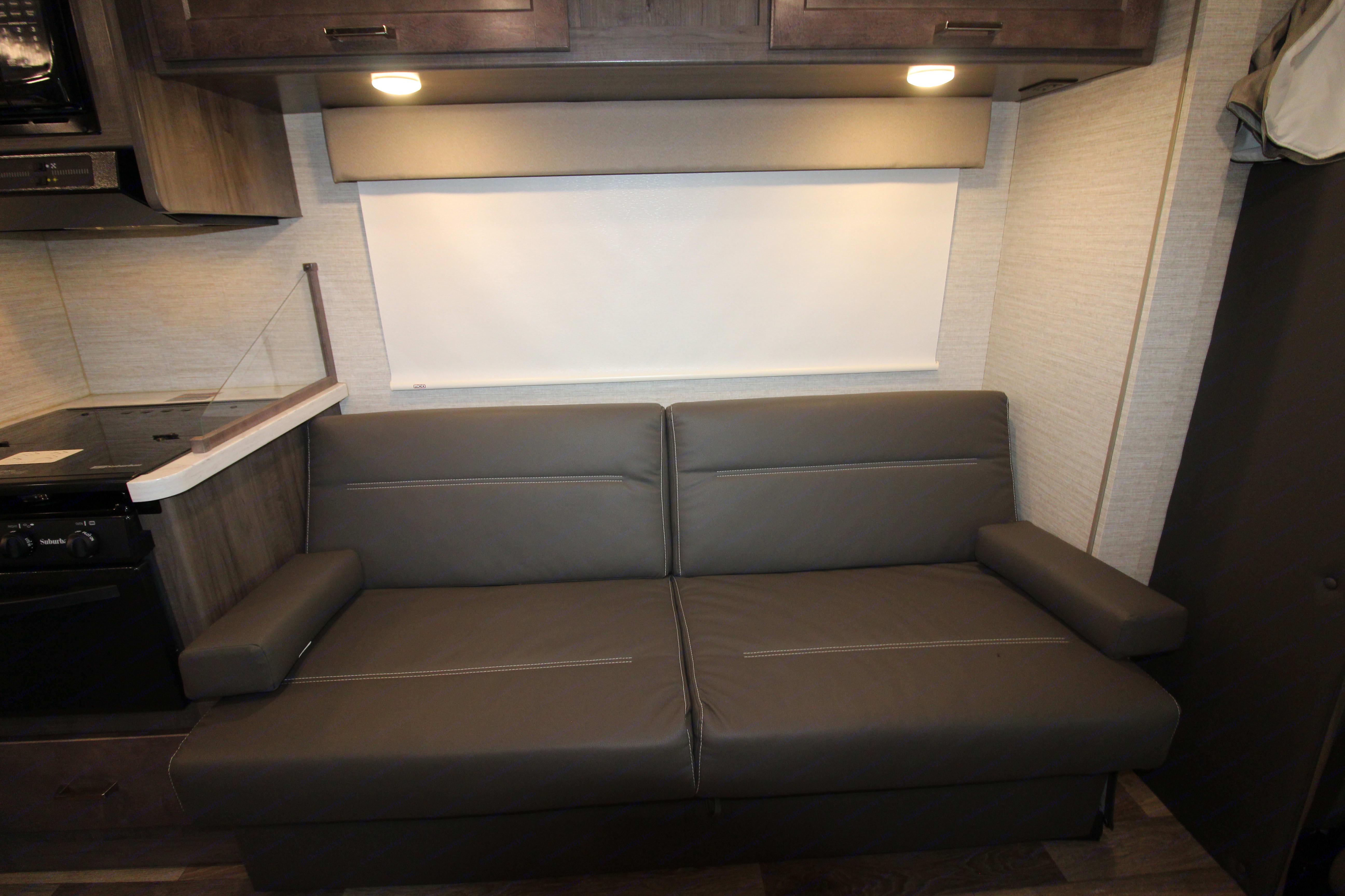 Sofa (converts into bed). Winnebago Minnie Winnie 2020