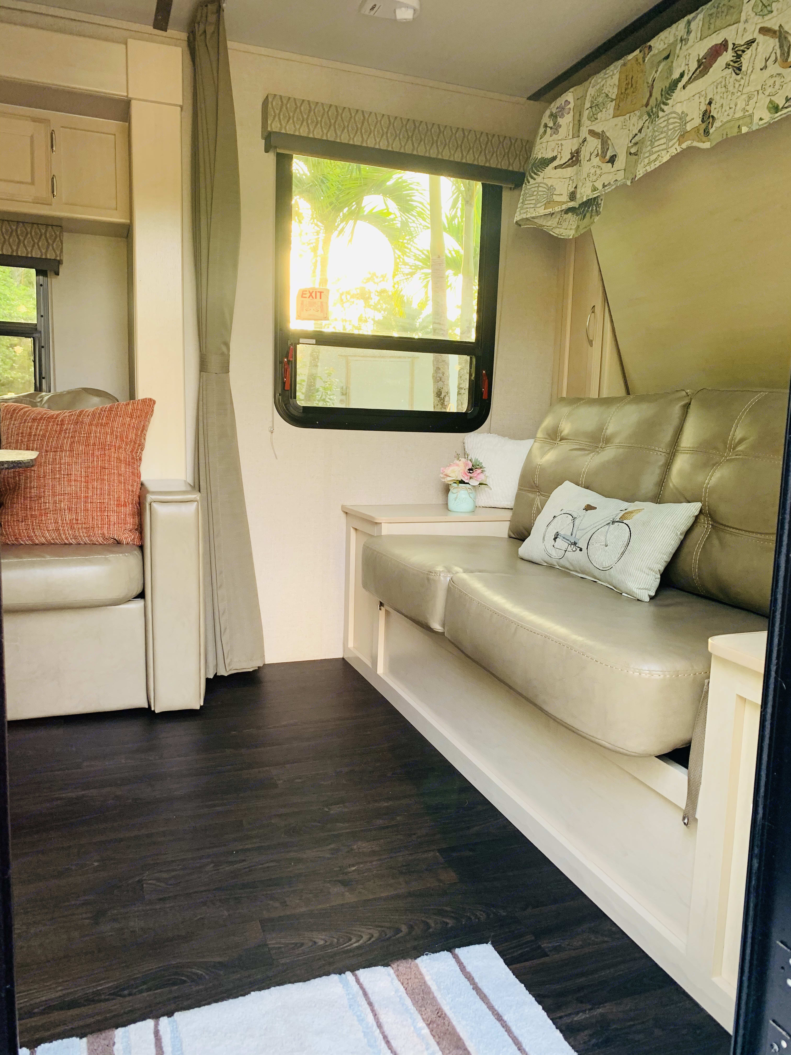 Couch when main bed is up. Winnebago Micro Minnie 2018