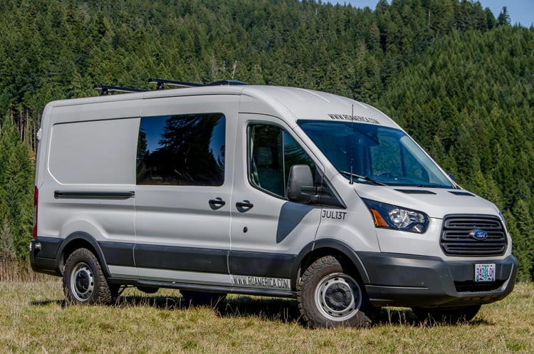 Roof rack and BF Goodrich All Terrain tires.. Ford Transit 2017