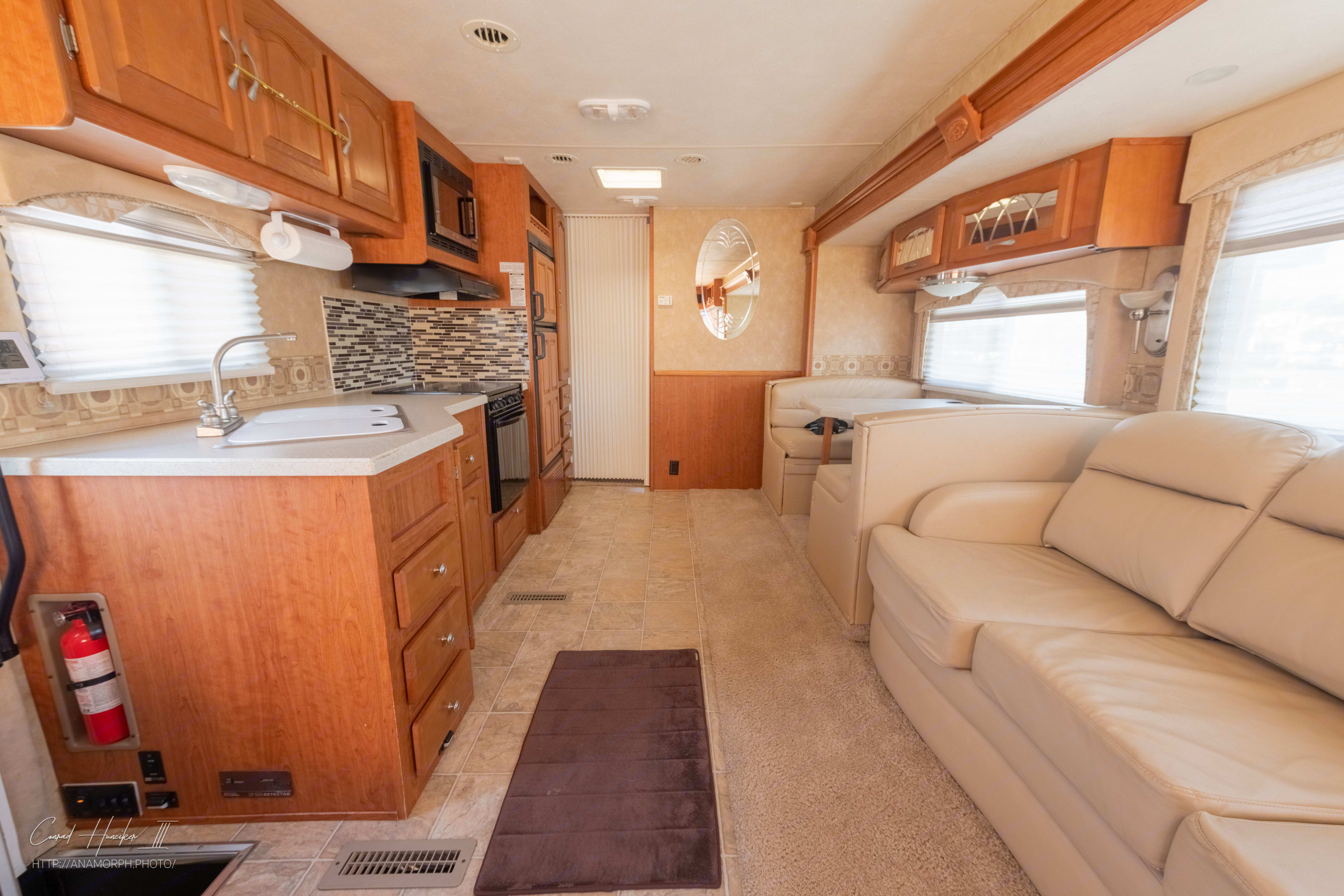 Wide interior space of the motorhome. Bunks and Queen bed down the hall.. Forest River Georgetown 2008