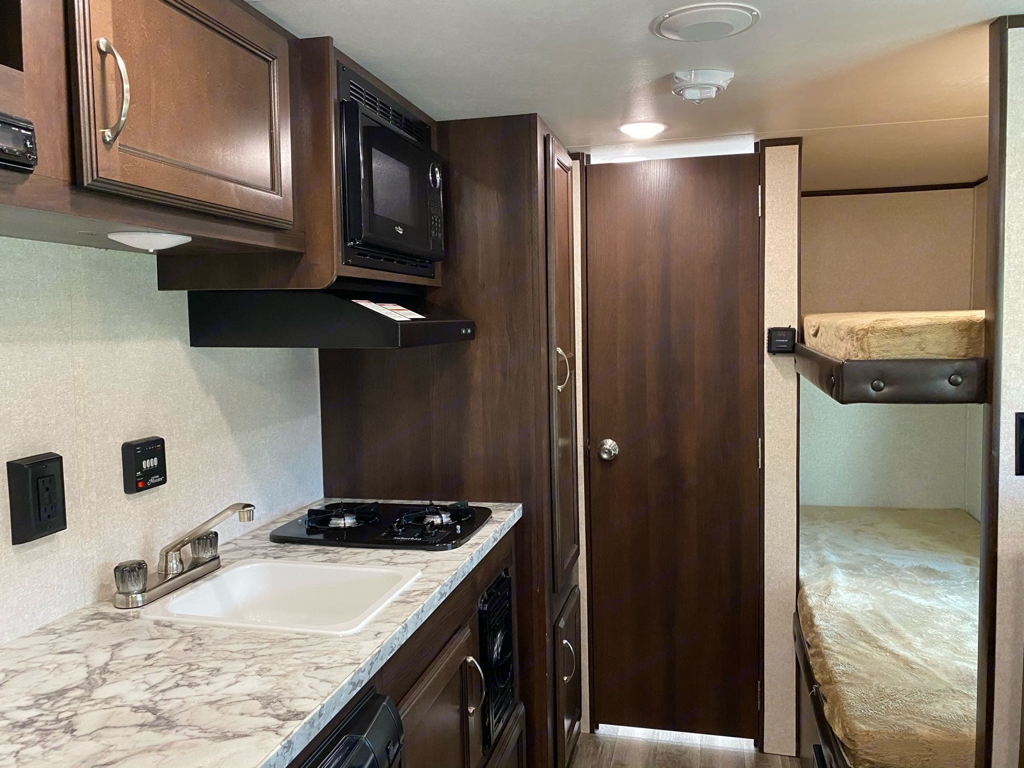 Having a real door on the bathroom really helps with privacy. Jayco Jay Flight 2018