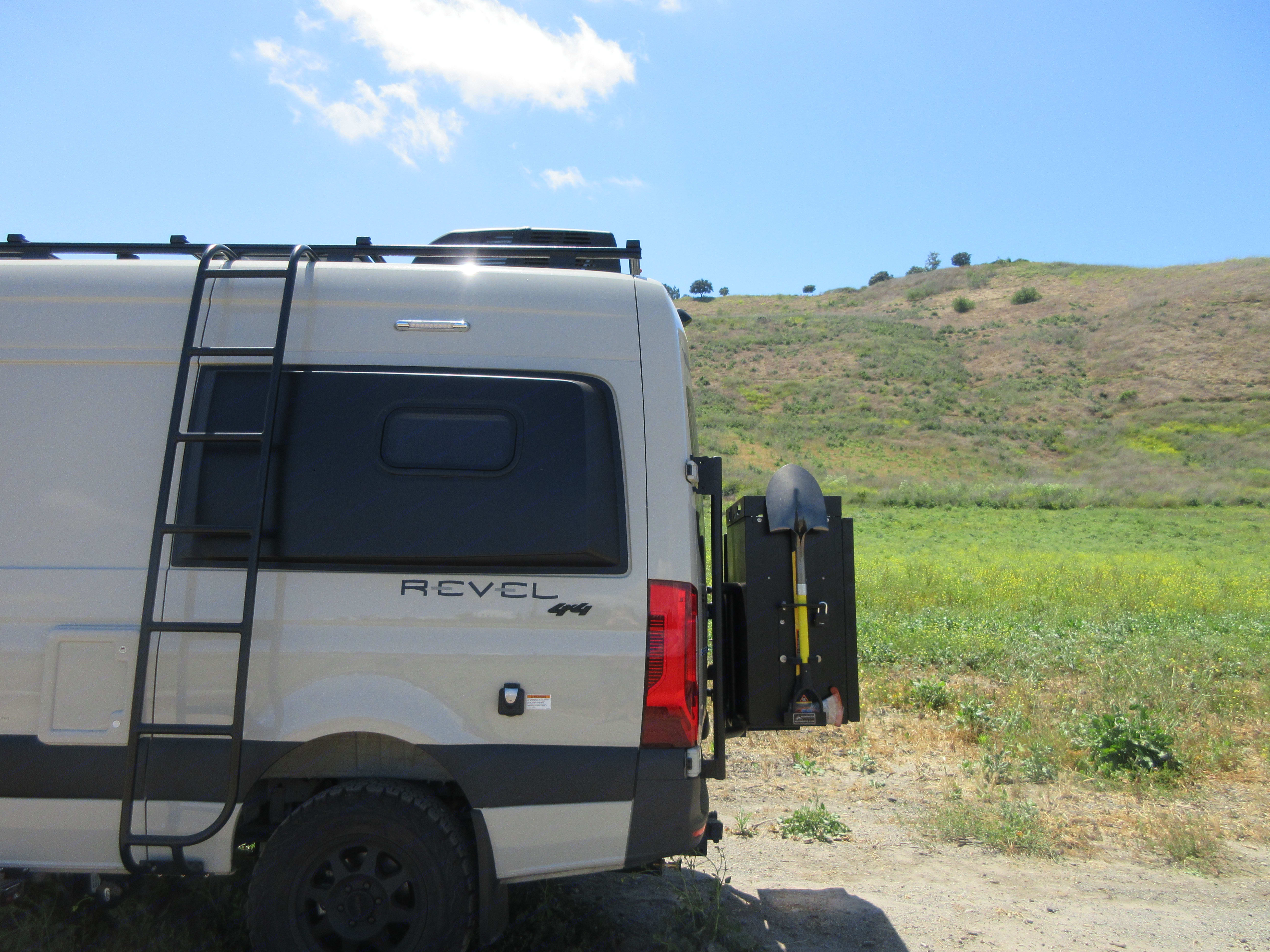 Rear showing Ladder and 2 boxes w/ Expedition Kit (Shovel / Axe Pack). Winnebago Other 2020