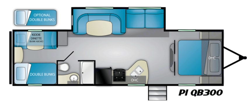Floorplan - 3 rear bunks with dinette that converts to 4th bunk. Heartland Pioneer 2019