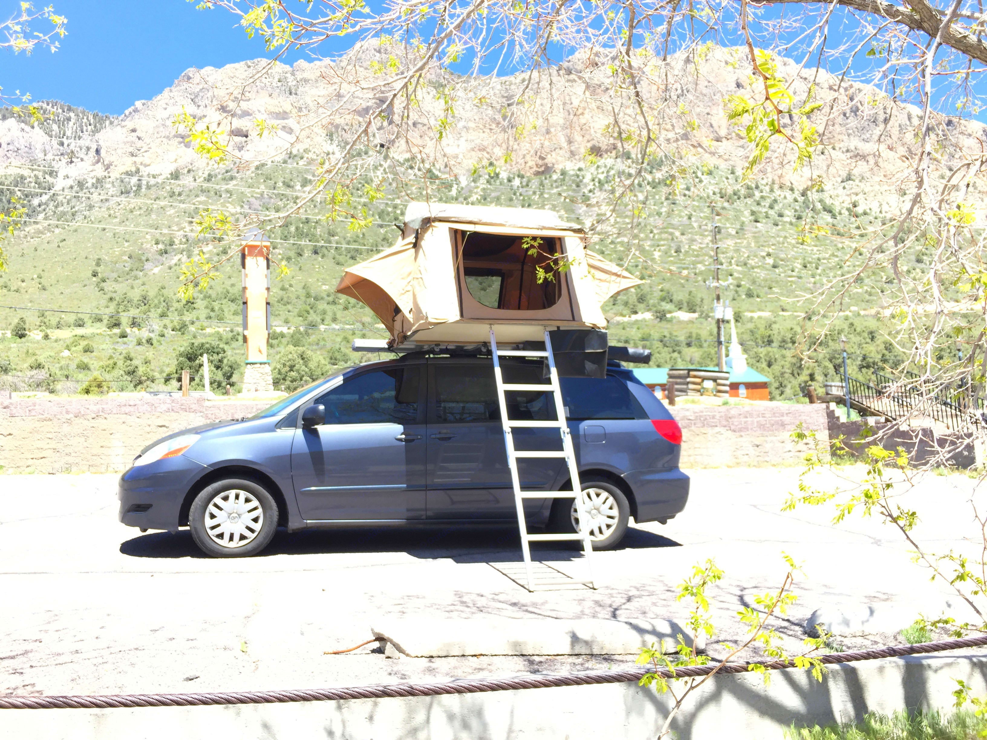 Roof top tent fully deployed.. Toyota Sienna 2008