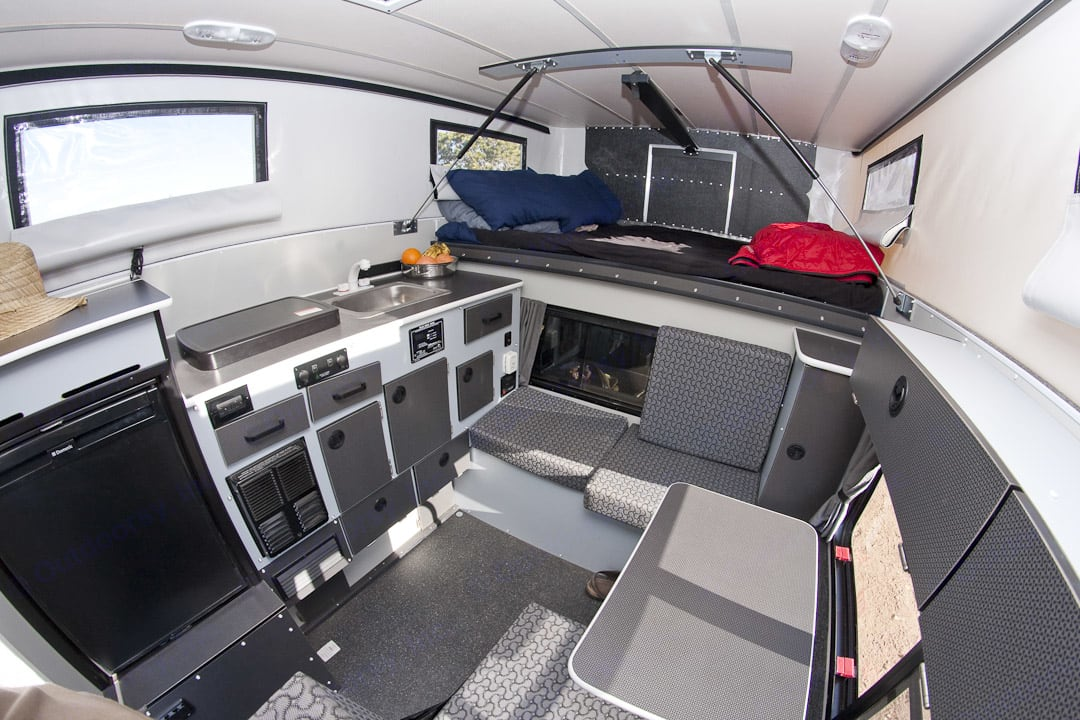 Enjoy the view from bed through the four windows. Four Wheel Campers Fleet 2016