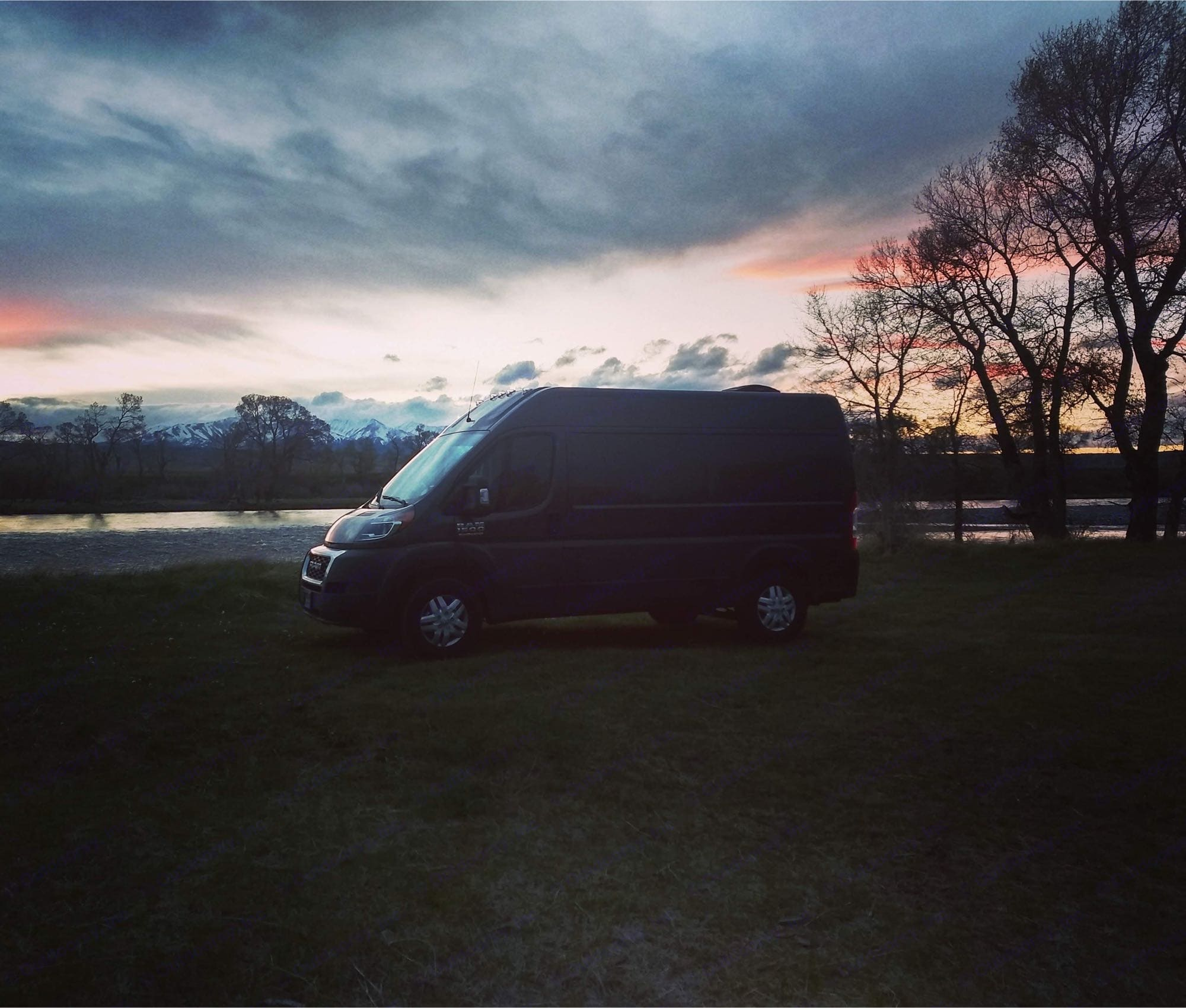 Along the Yellowstone river in MT.  MT Fish and Wildlife operates primitive campsites at fishing access points.. Dodge Promaster 1500 2020