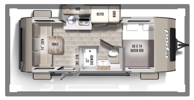 Floor plan-table is not included. Forest River R-Pod 2019