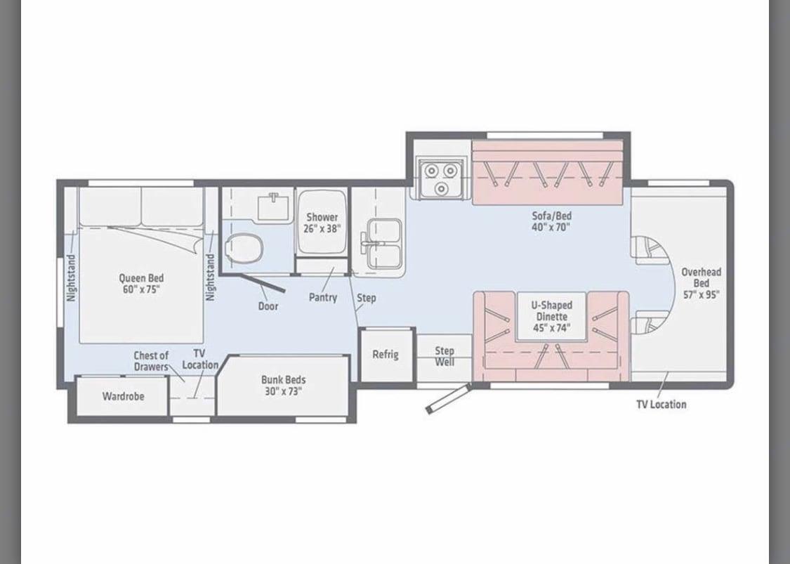 Floor plan. Winnebago Minnie Winnie 2020