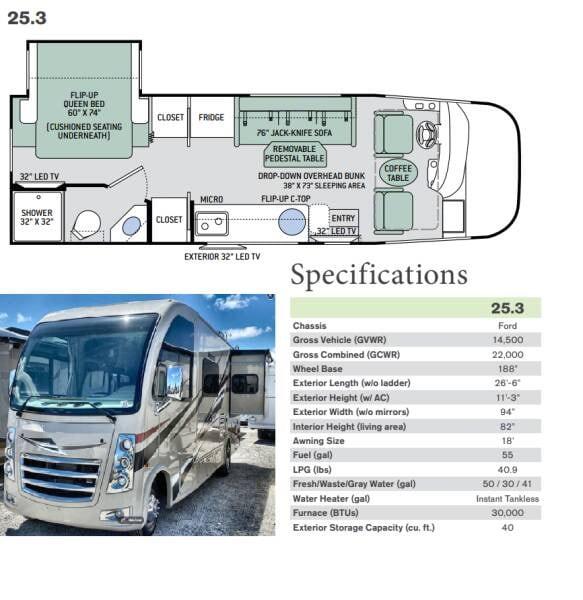 Thor Vegas 25.3 Floorplan & Specifications. Thor Motor Coach Vegas 2018