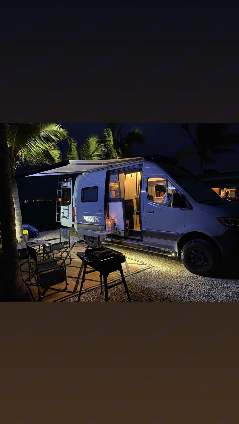 BlackStone Grill w/Awning Lights. Winnebago Revel 4x4 2020