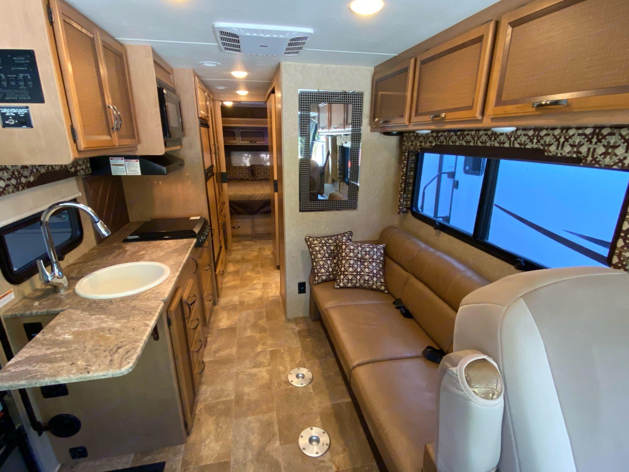 living room. Thor Motor Coach Axis 2016