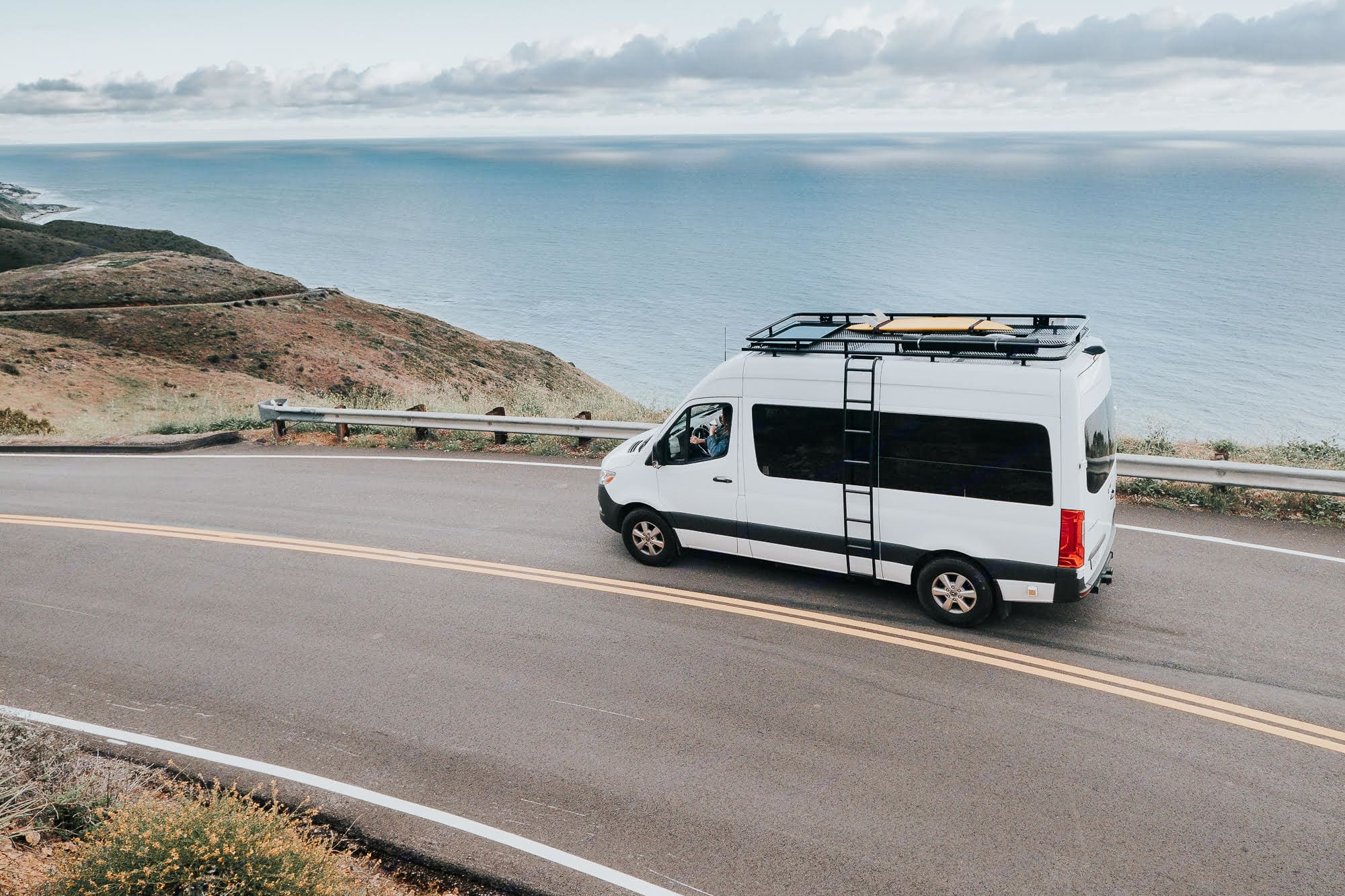 The rig, ladder side with the best roof deck. Mercedes-Benz Sprinter 2019