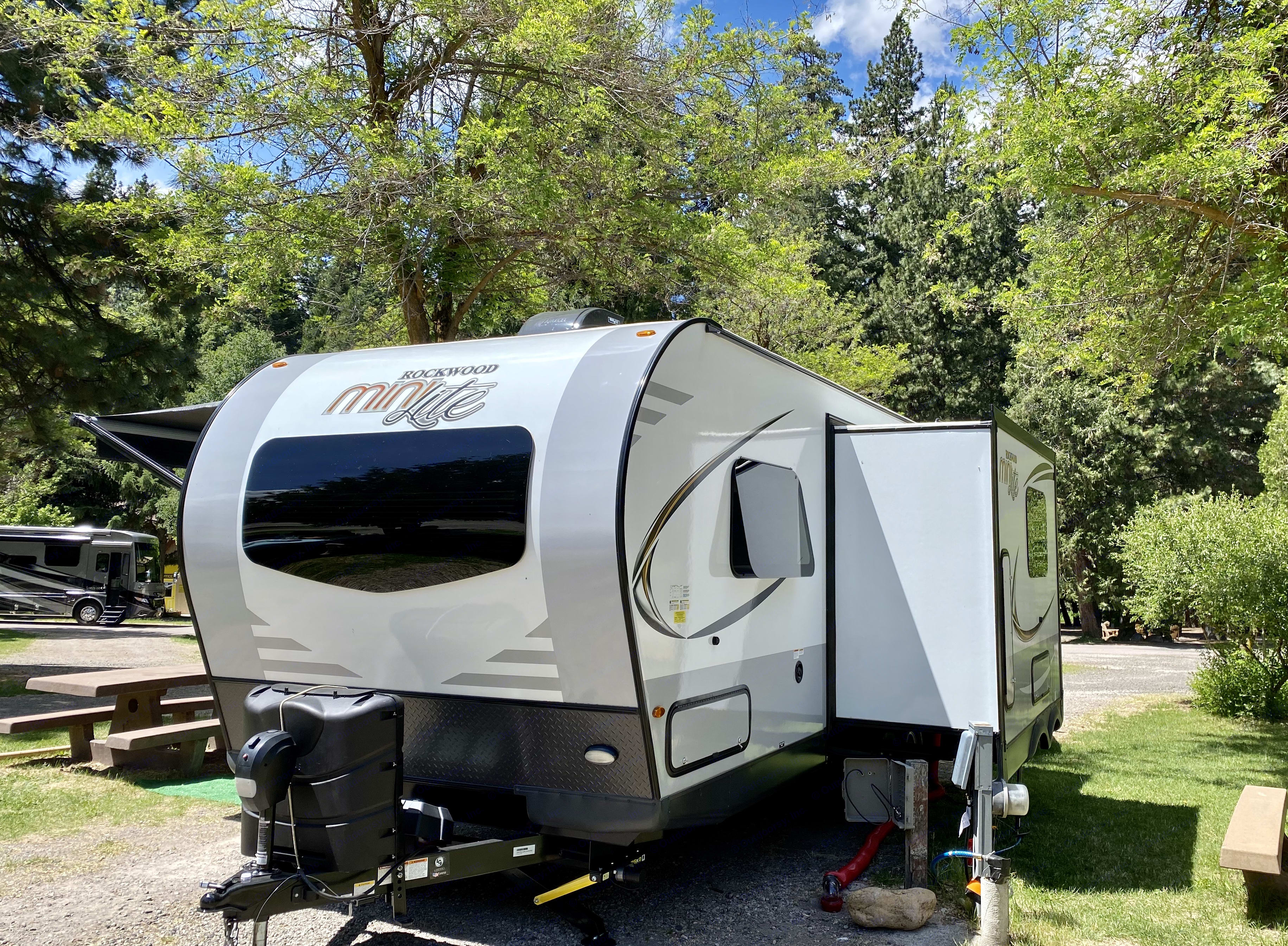 Exterior, Front and side with extender. Forest River Rockwood Mini Lite 2020