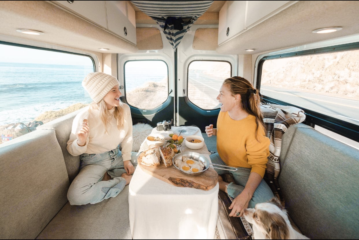 Breakfast with a view, the converted bedroom to dinette. Mercedes-Benz Sprinter 2019