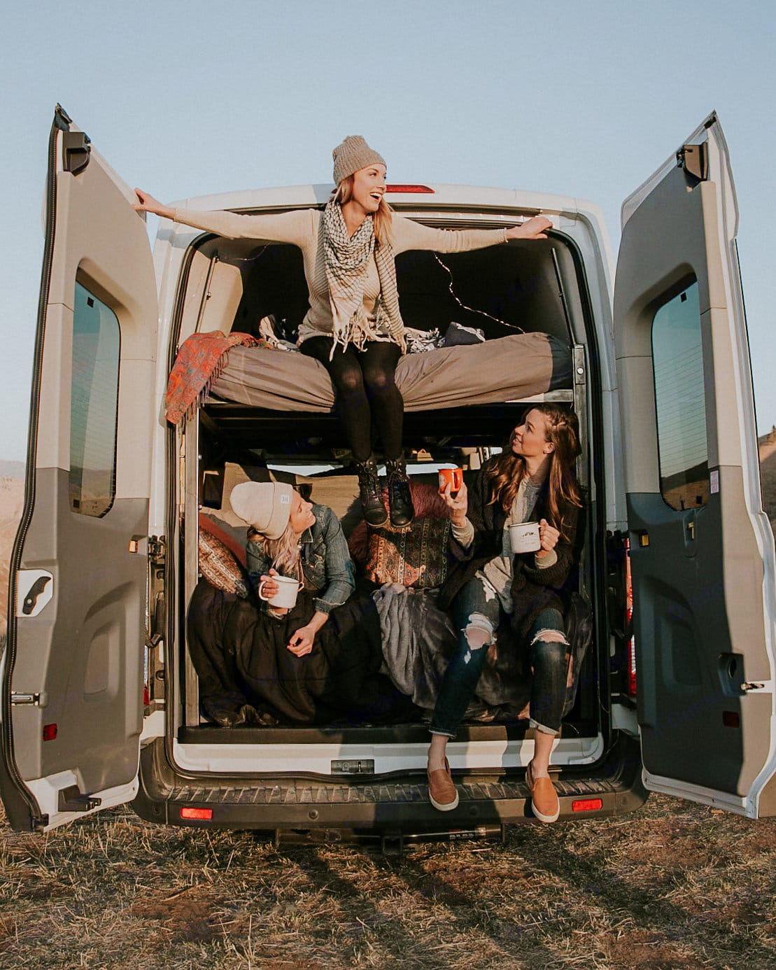 """Plenty of room for the whole crew with two queen 6"""" mattresses. . Ford Transit 2019"""