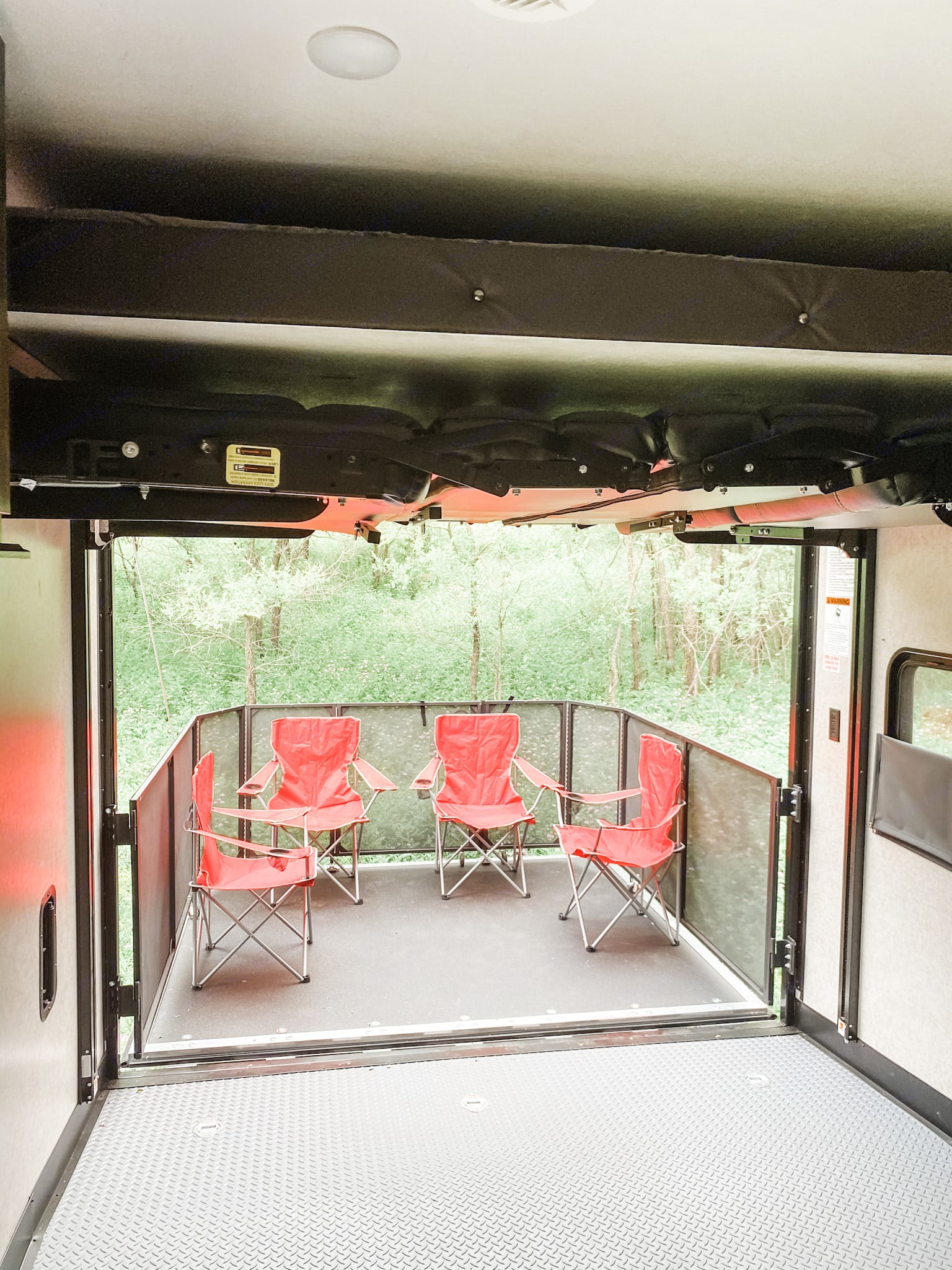 View with both top bunk/bottom bunk(dining benches) all the way up to fit toys while traveling. Benches can also lay flat against the wall.. Forest River Other 2020