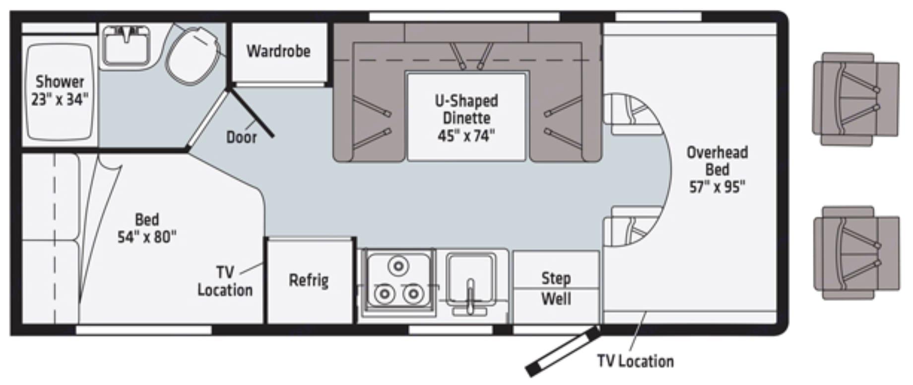 Floorplan. Winnebago Minnie Winnie 2020