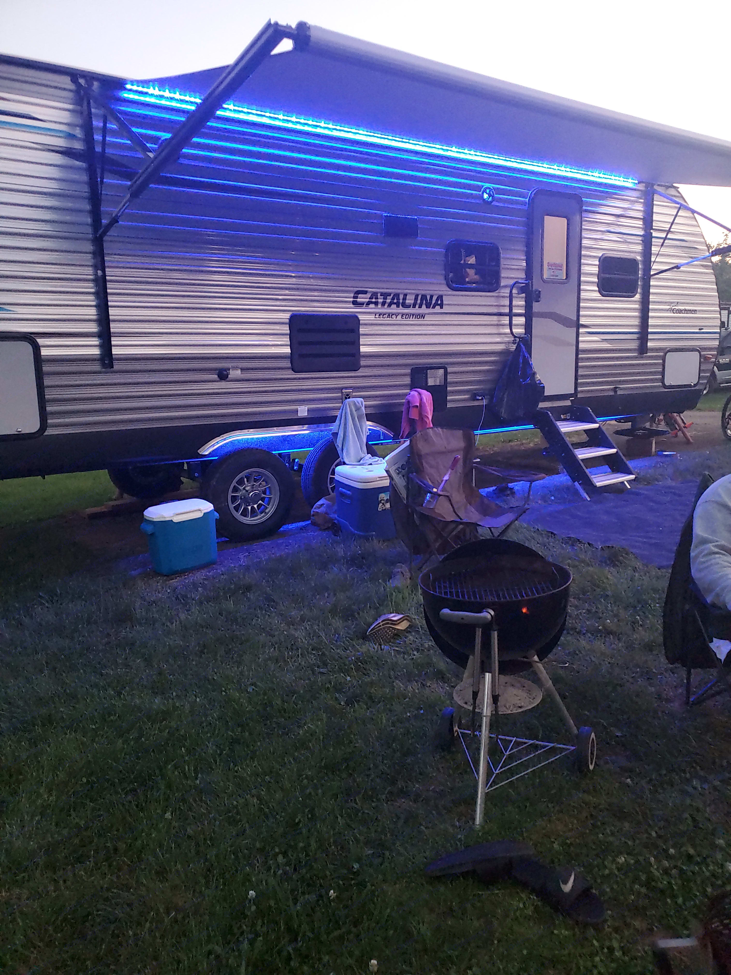 outside LED blue lights with sound system. Coachman Catalina 2020