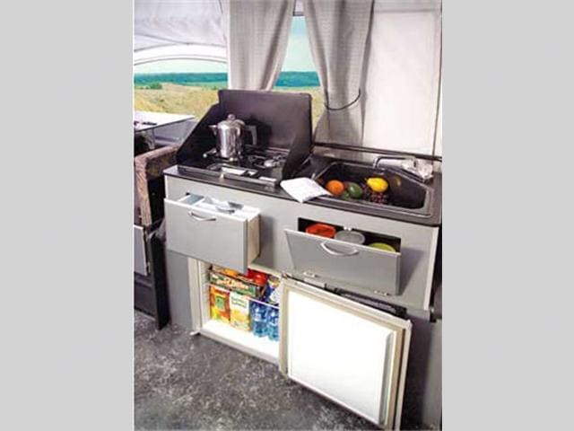 Galley - Stove, Sink, Water Holding Tank. Fleetwood Evolution 2008