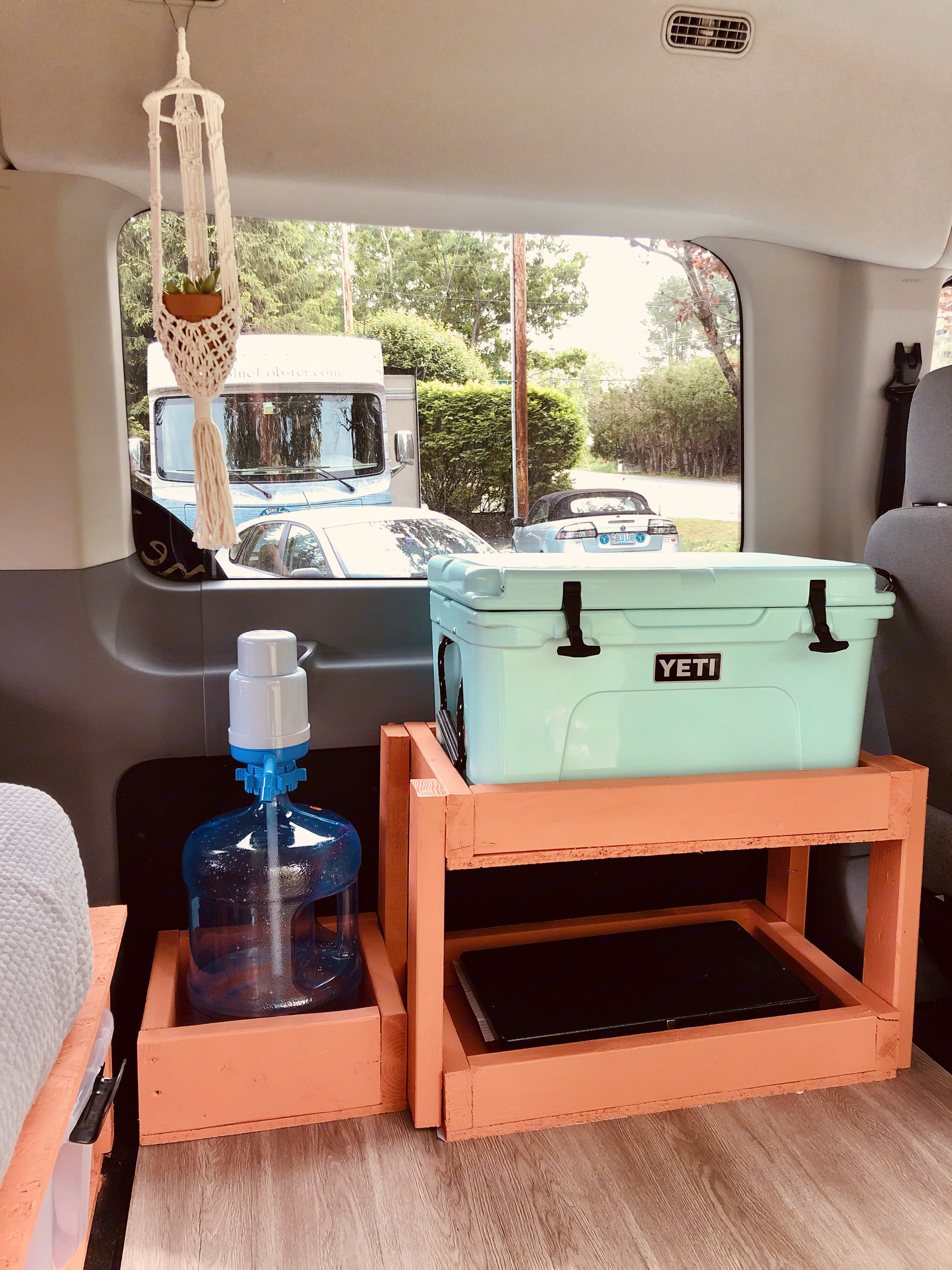 Tundra Yeti cooler, 5 gallon water with pump. Ford Custom Transit 2016