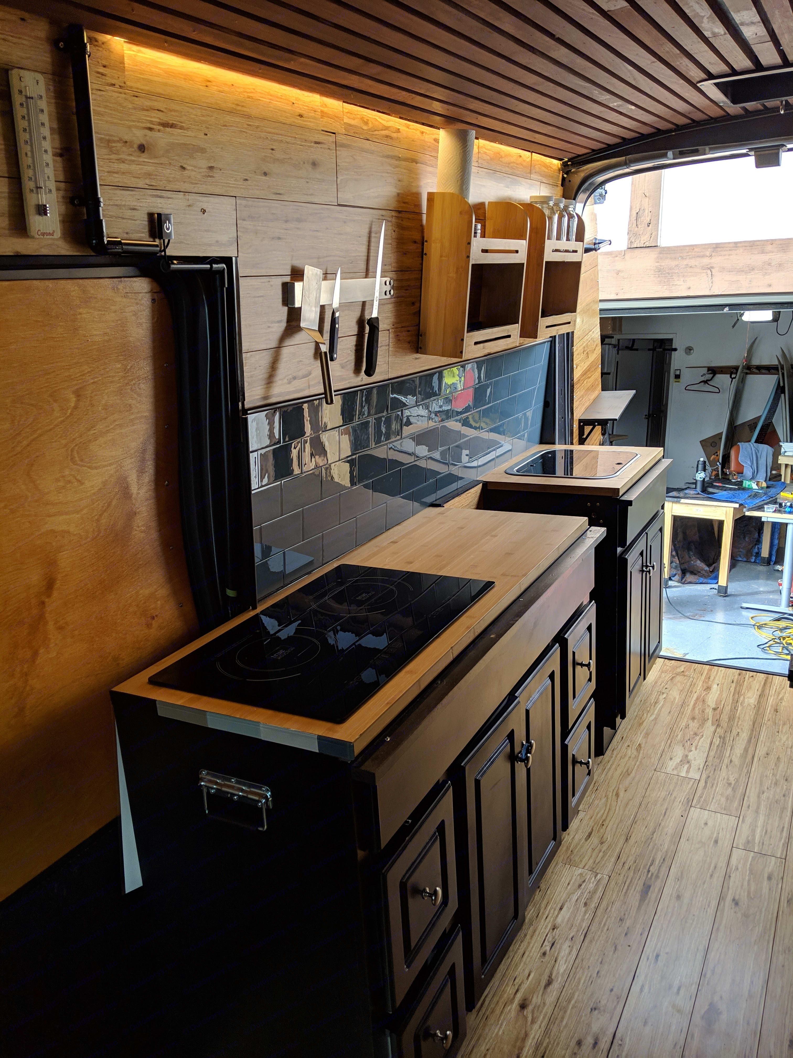 Inside kitchen area. Ford Transit Van 2018