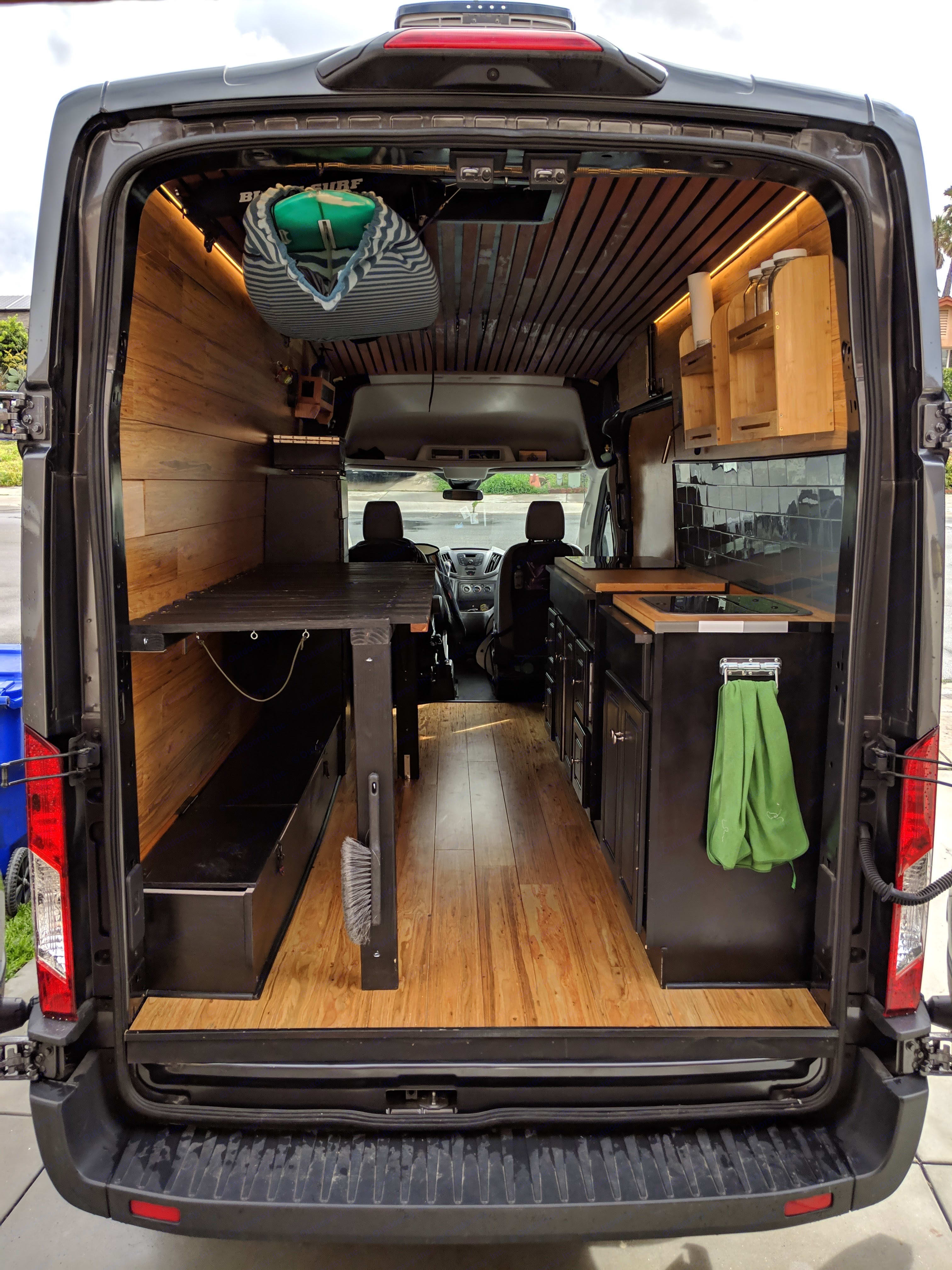 Bed pulls out to fit a queen sized bed. Ford Transit Van 2018