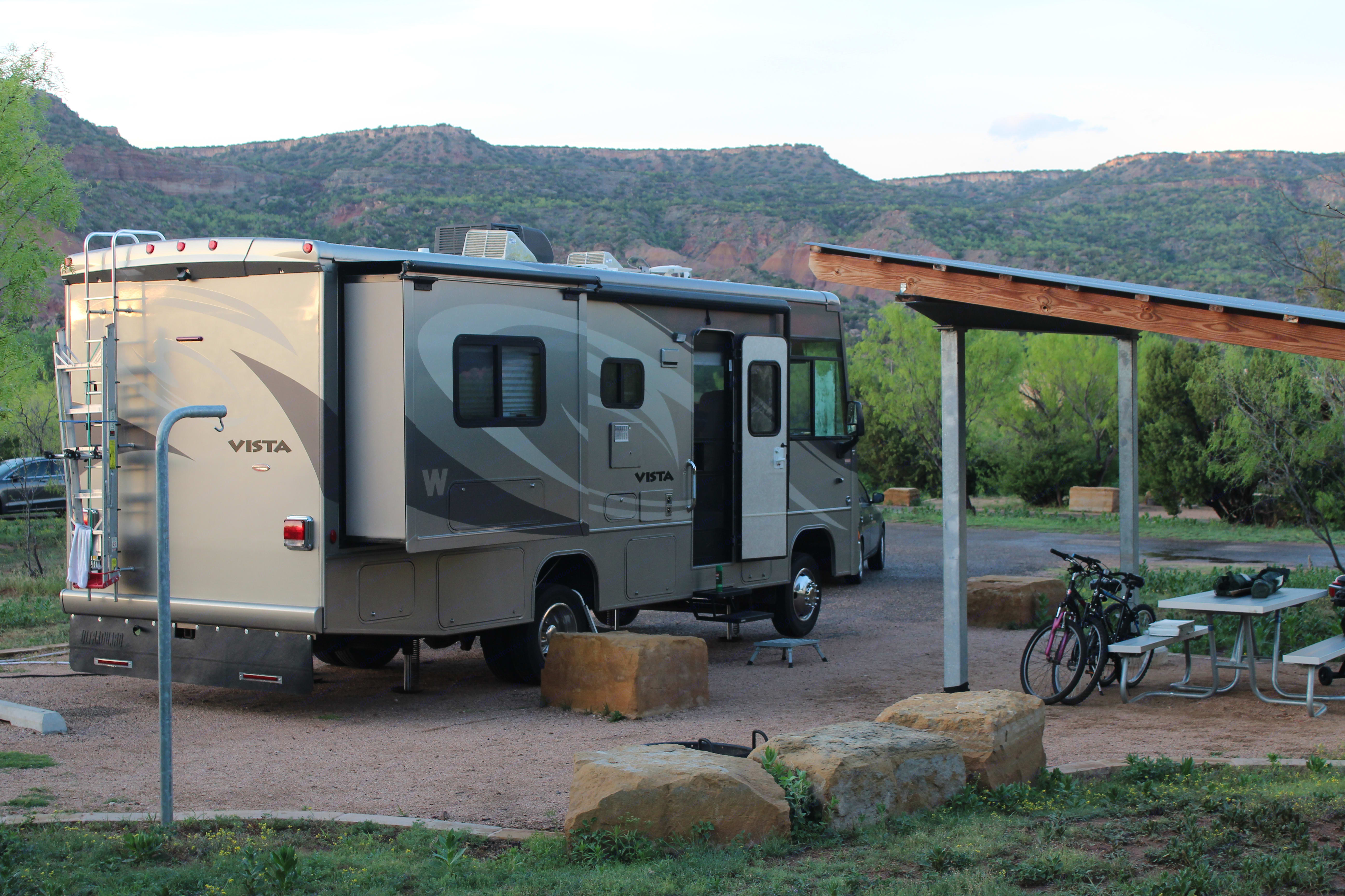 Camping in Palo Duro Canyon, Texas. Winnebago Vista 2010
