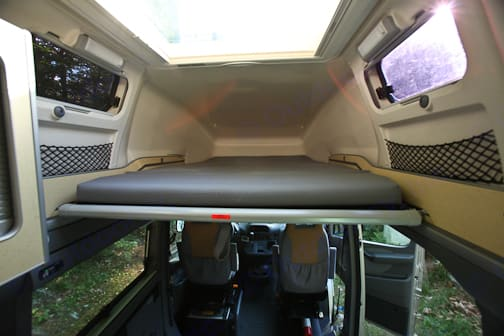 Extremely conformable upper bed. Can be used even when lower area used for dining or cards. Airstream Westfalia 2005