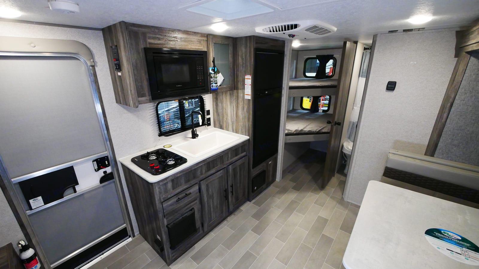 Kitchen and bunks. Forest River Salem 2021