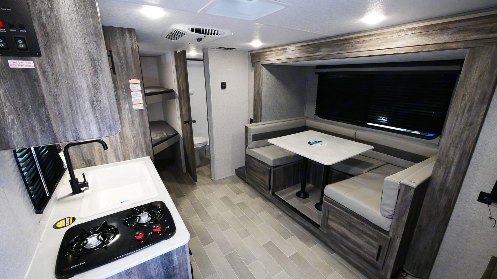 Kitchen, bunks, bath. Forest River Salem 2021