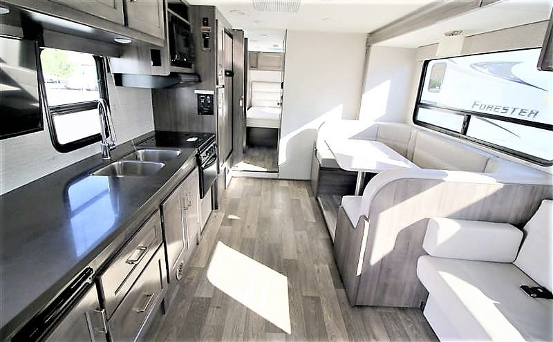 Lots of space to live - dinette folds into bed as does couch. Winnebago Minnie Winnie 2020