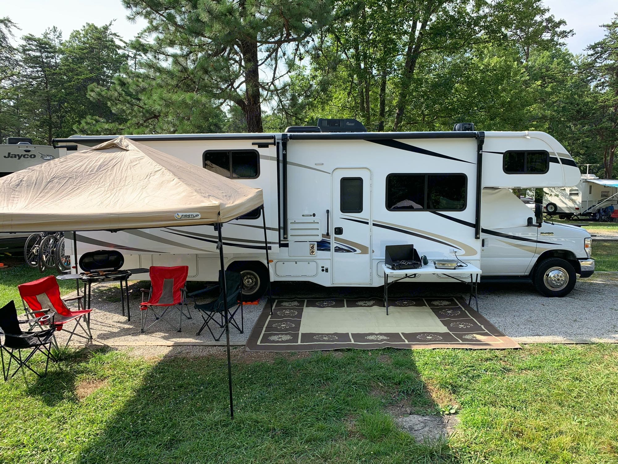 Set up at the campsite.  Rental includes everything in this photo (and more!).. Forest River Forester 3251DSLE 2020