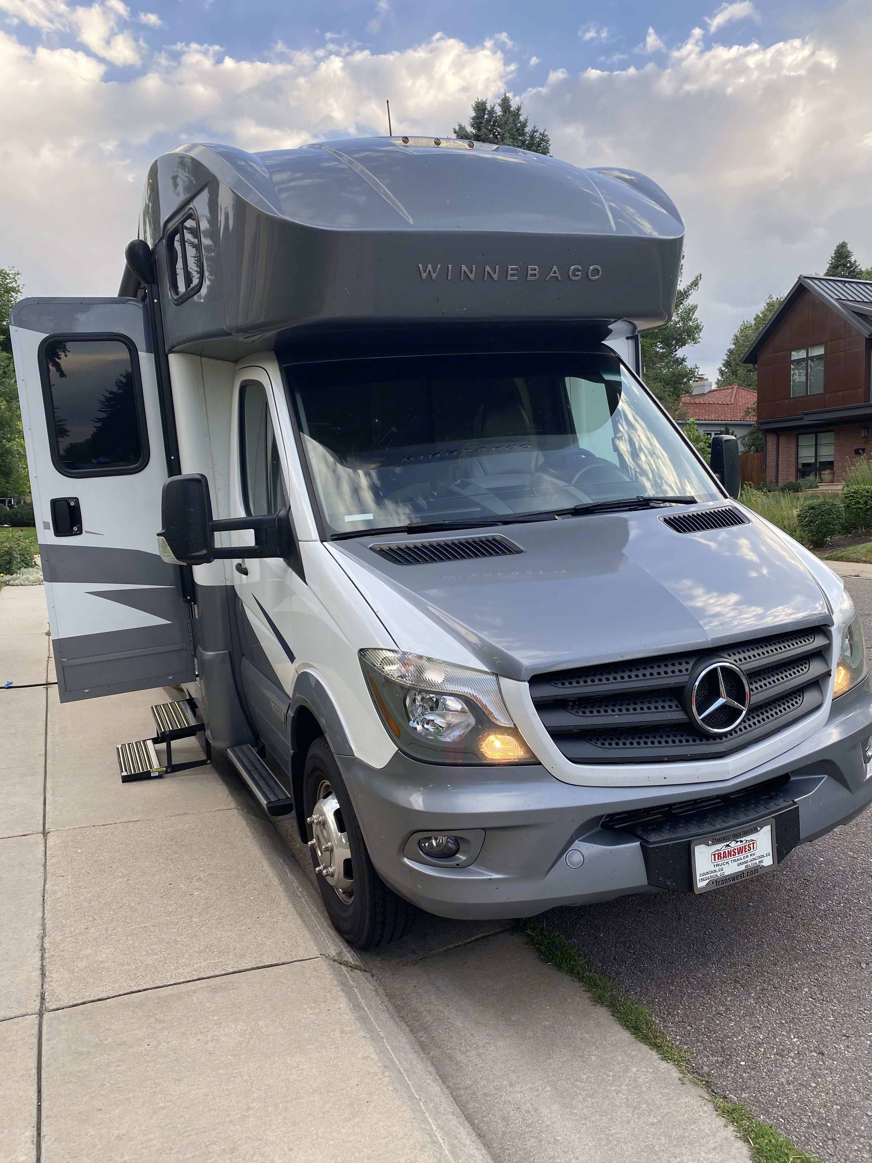 Front of vehicle. Mercedes Winnebago Navion 2019