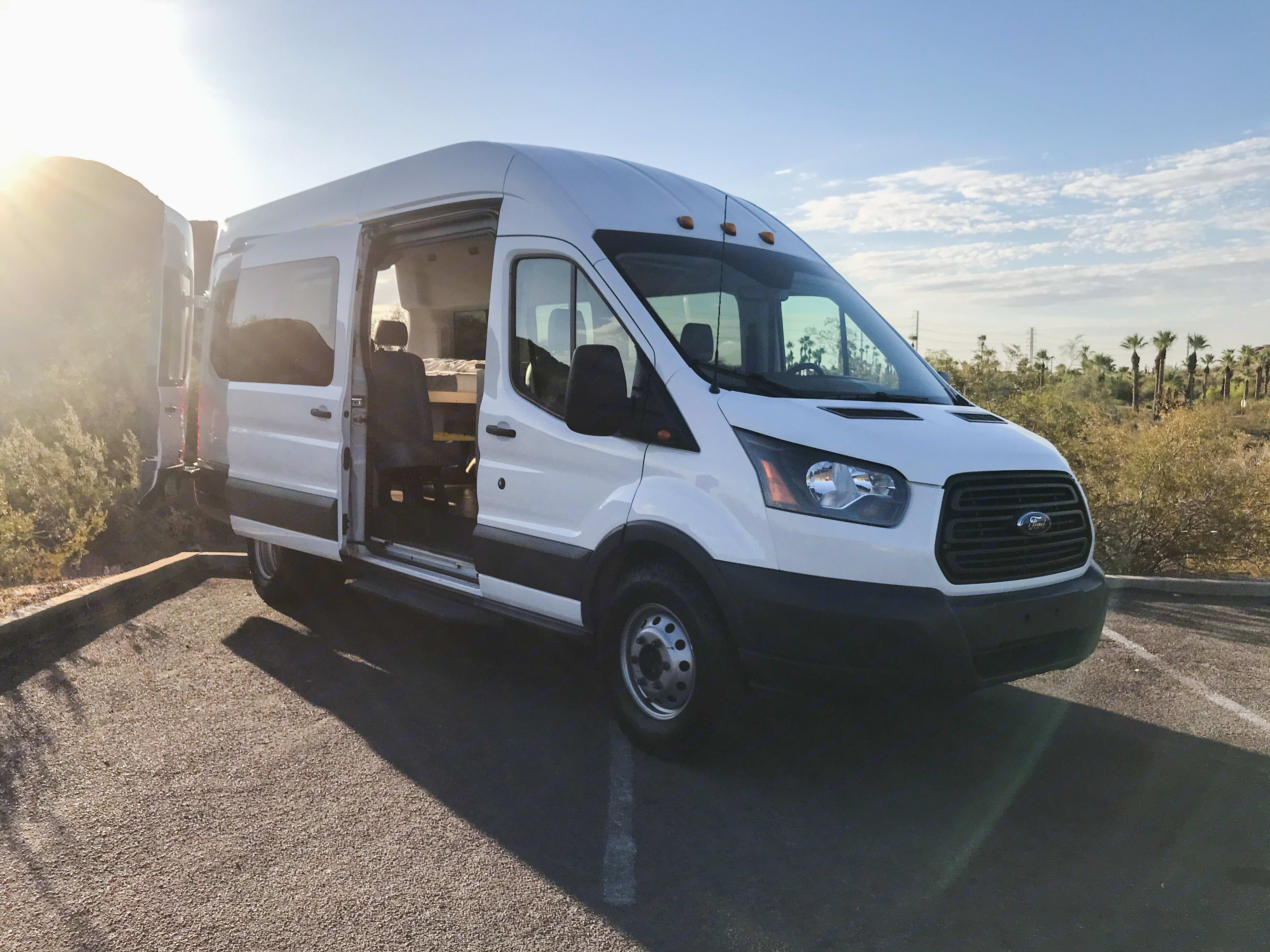 Bring the outside in with huge sliding door. Ford Transit 350 HD 2017