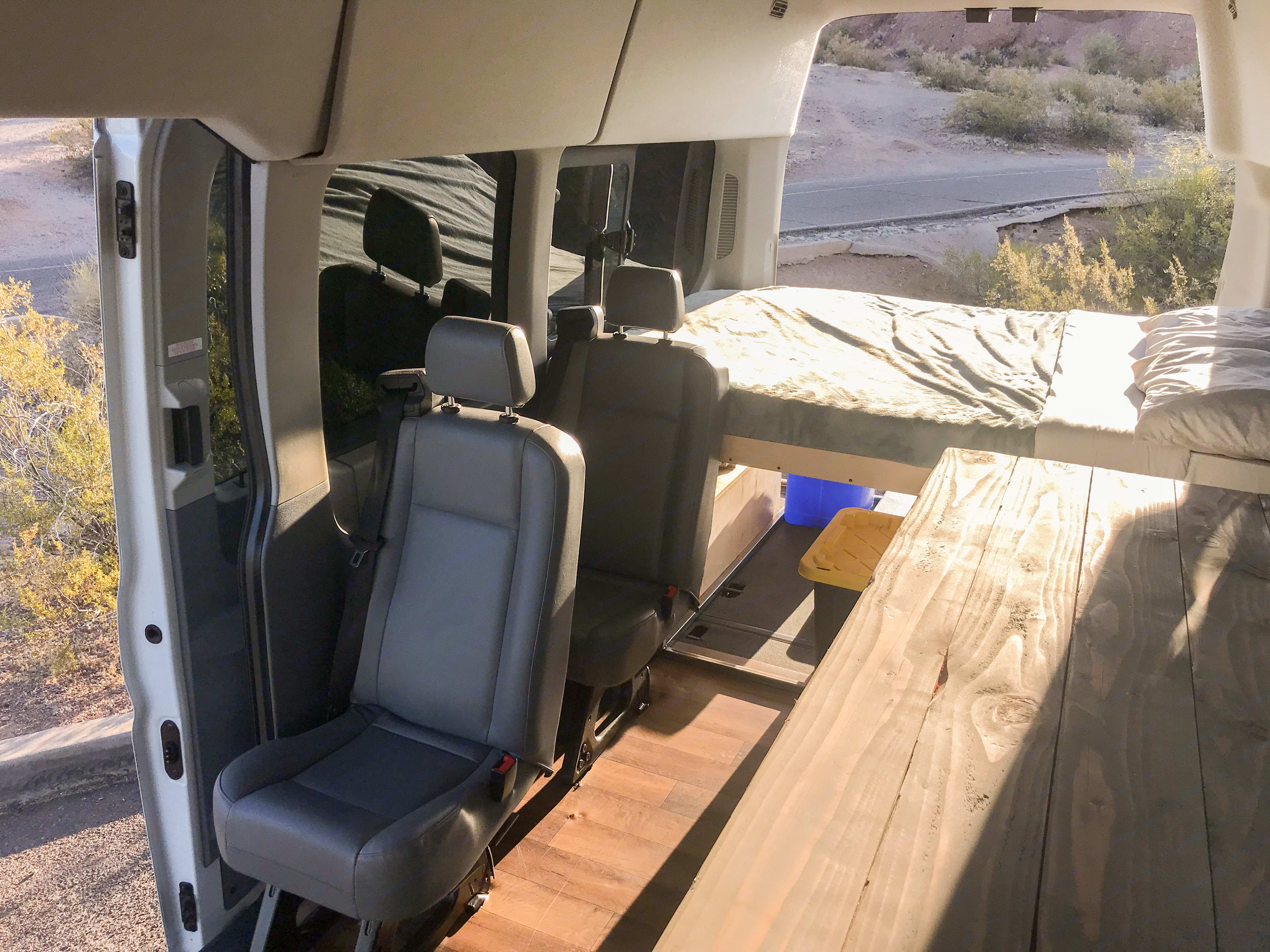 Seats 4 with 3 point seat belts for all. Ford Transit 350 HD 2017