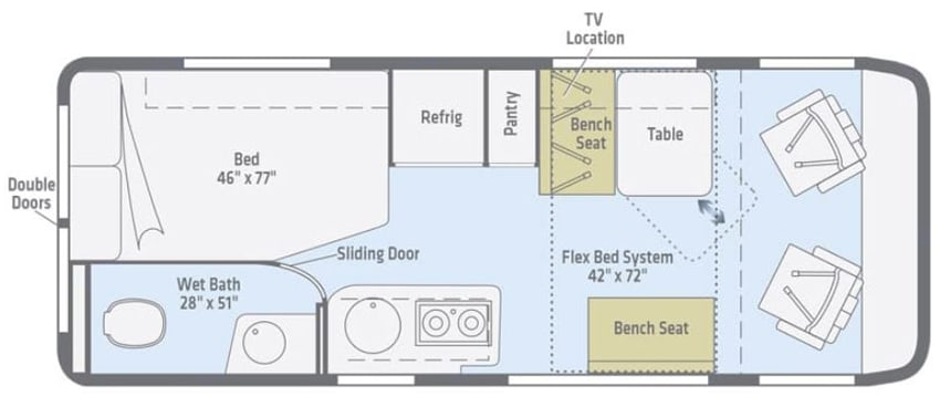 Floorplan. Winnebago Travato 2020