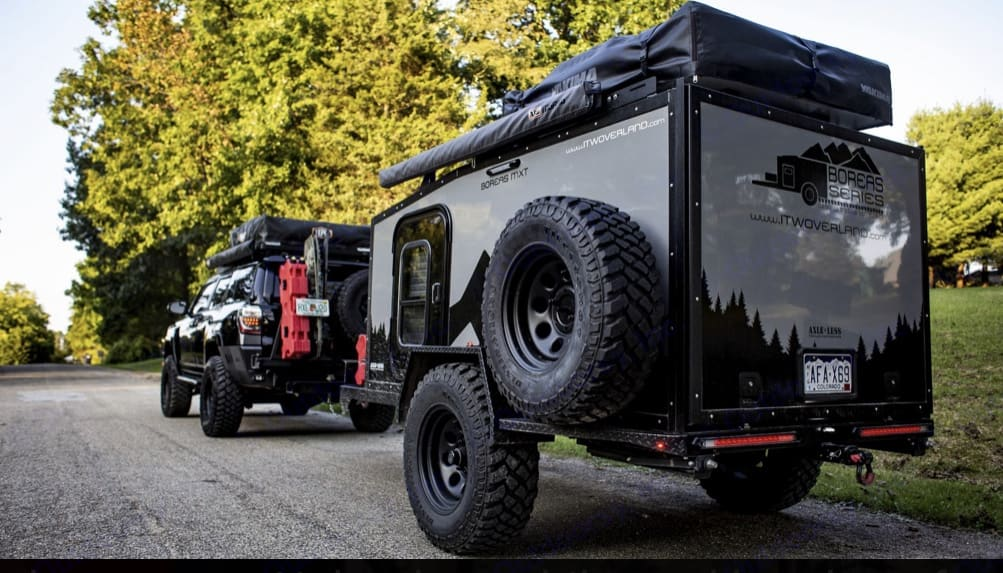 Full size spare, ARB awning, rear receiver for bike rack. Roof top tent not included.. Into the Wild Boreas MXT 2019