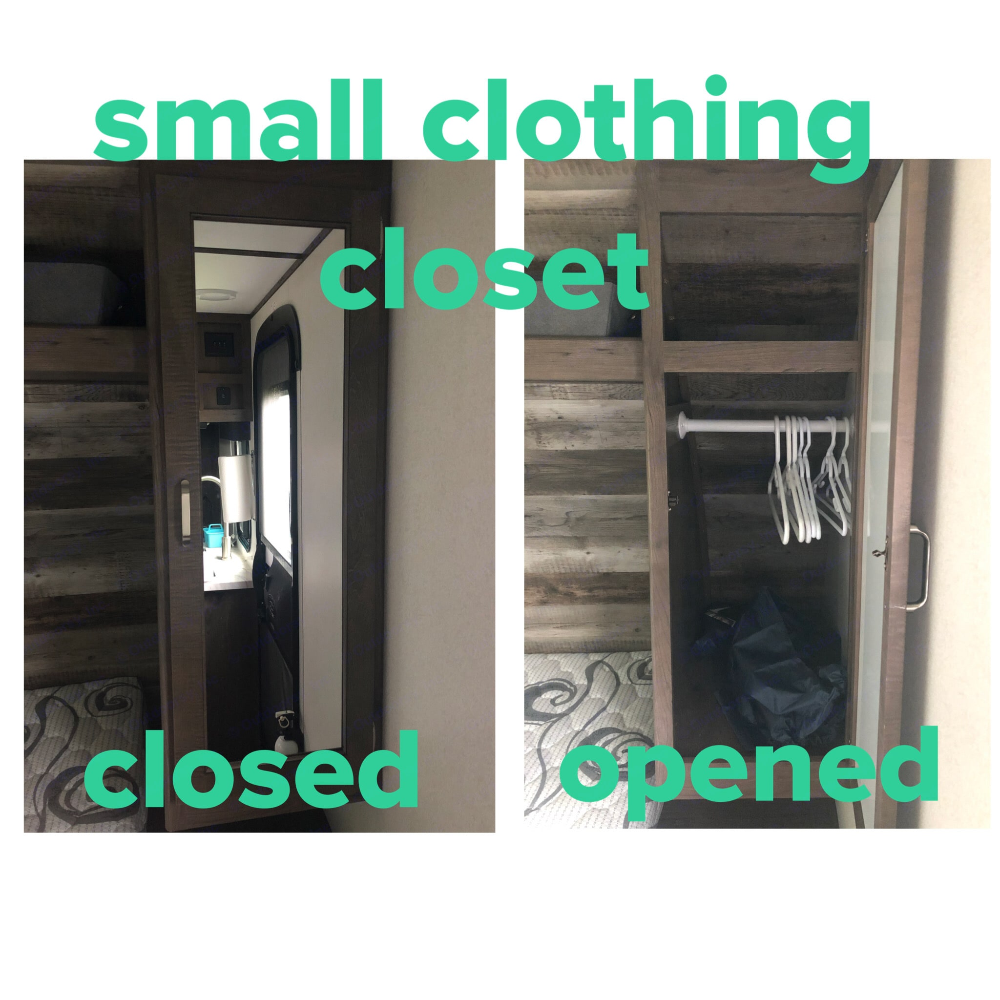 Small clothing closet to the right of the queen bed. Keystone Passport 2021