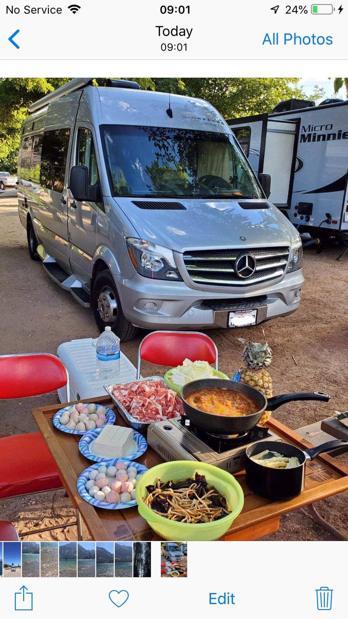 Zion national park (Renter's photo , red chair & table & delicious food not included). Mercedes Benz Winnebago Era 2015