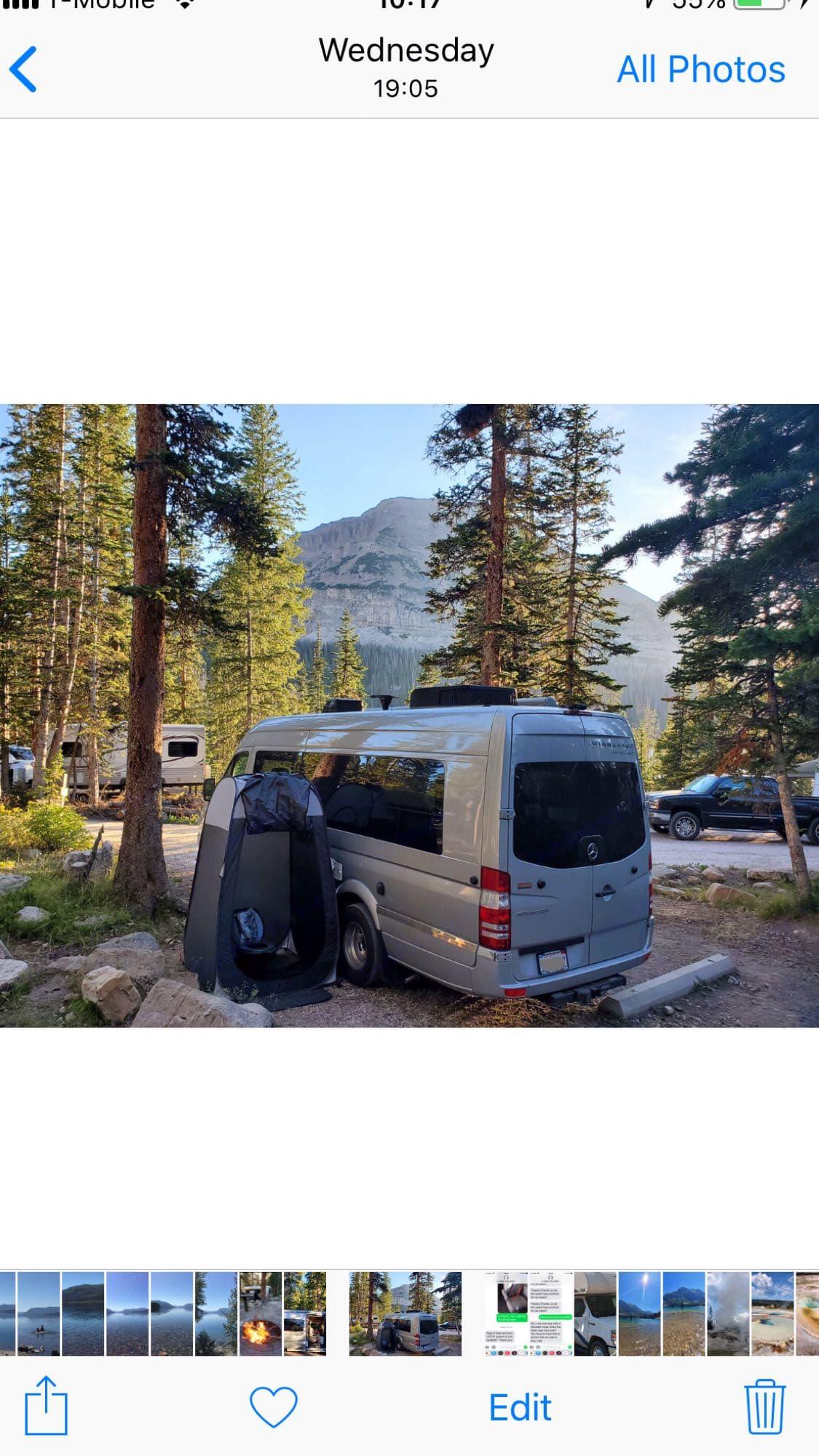 camping at Mirror lake. Mercedes Benz Winnebago Era 2015