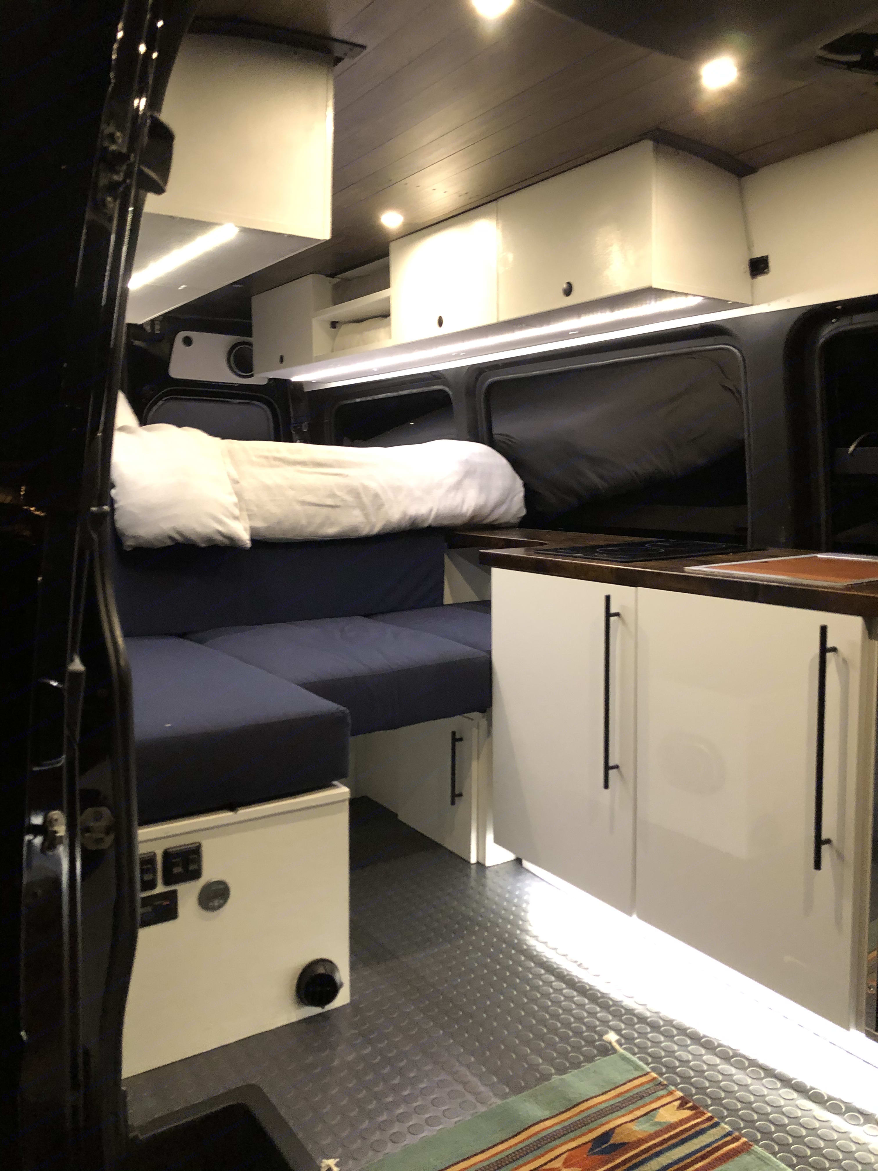 "Comfy Couch. 6"" Memory Foam Cushions. Just as wide as a twin bed. Middle Cushion pulls to access more storage!!!. Mercedes-Benz Sprinter 2012"