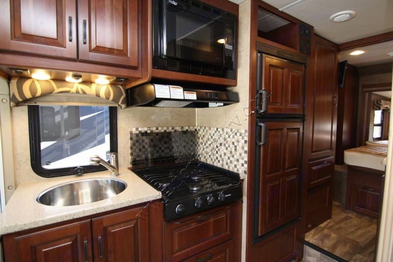 Fully equipped kitchen with large frig/freezer (runs at all times), microwave/convection oven, 3 burner stove, toaster and even a Keurig!. Forest River Forester 2016