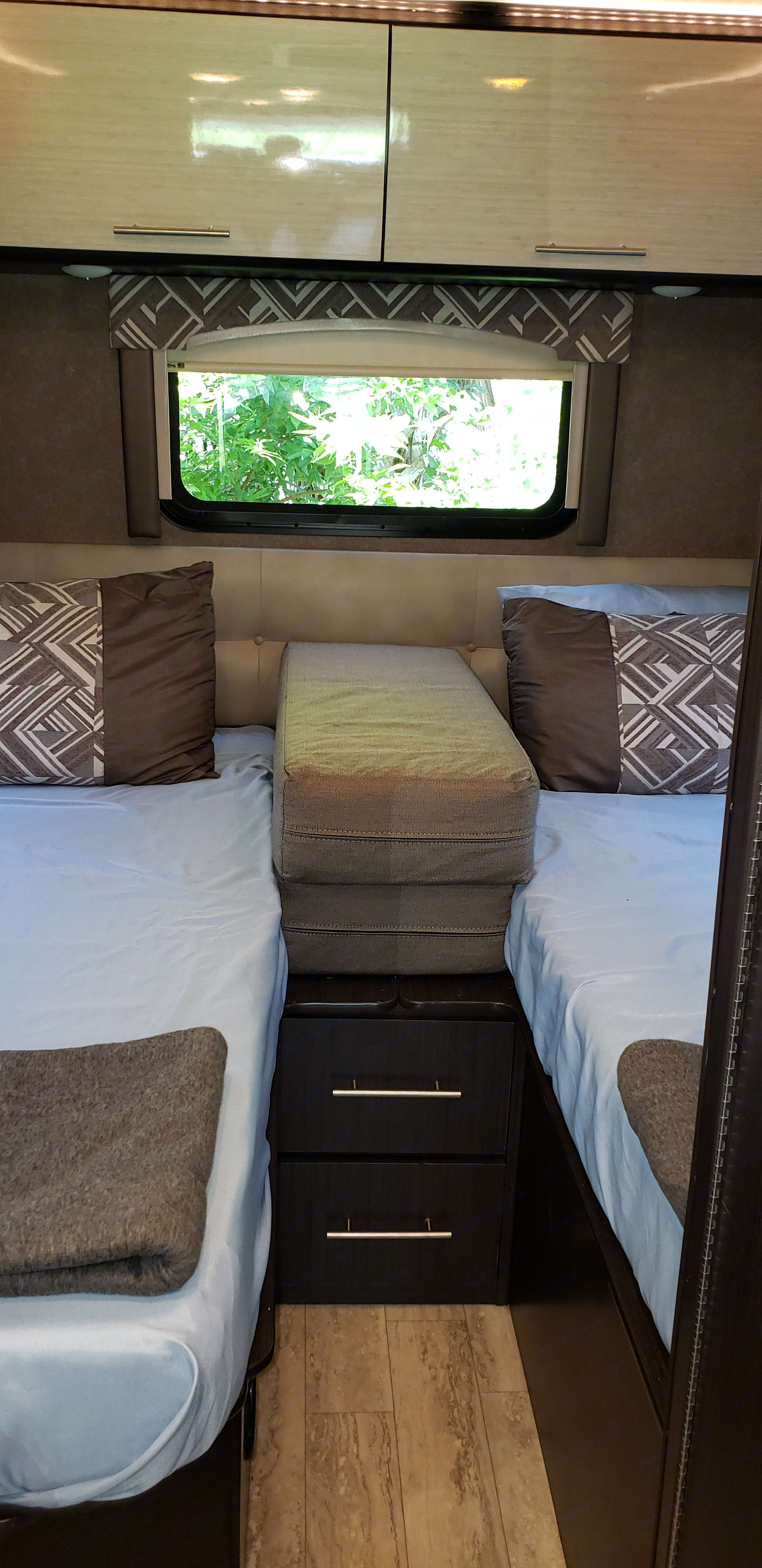 Master bedroom with insert to expand to a King bed. Thor Motor Coach Axis 2018